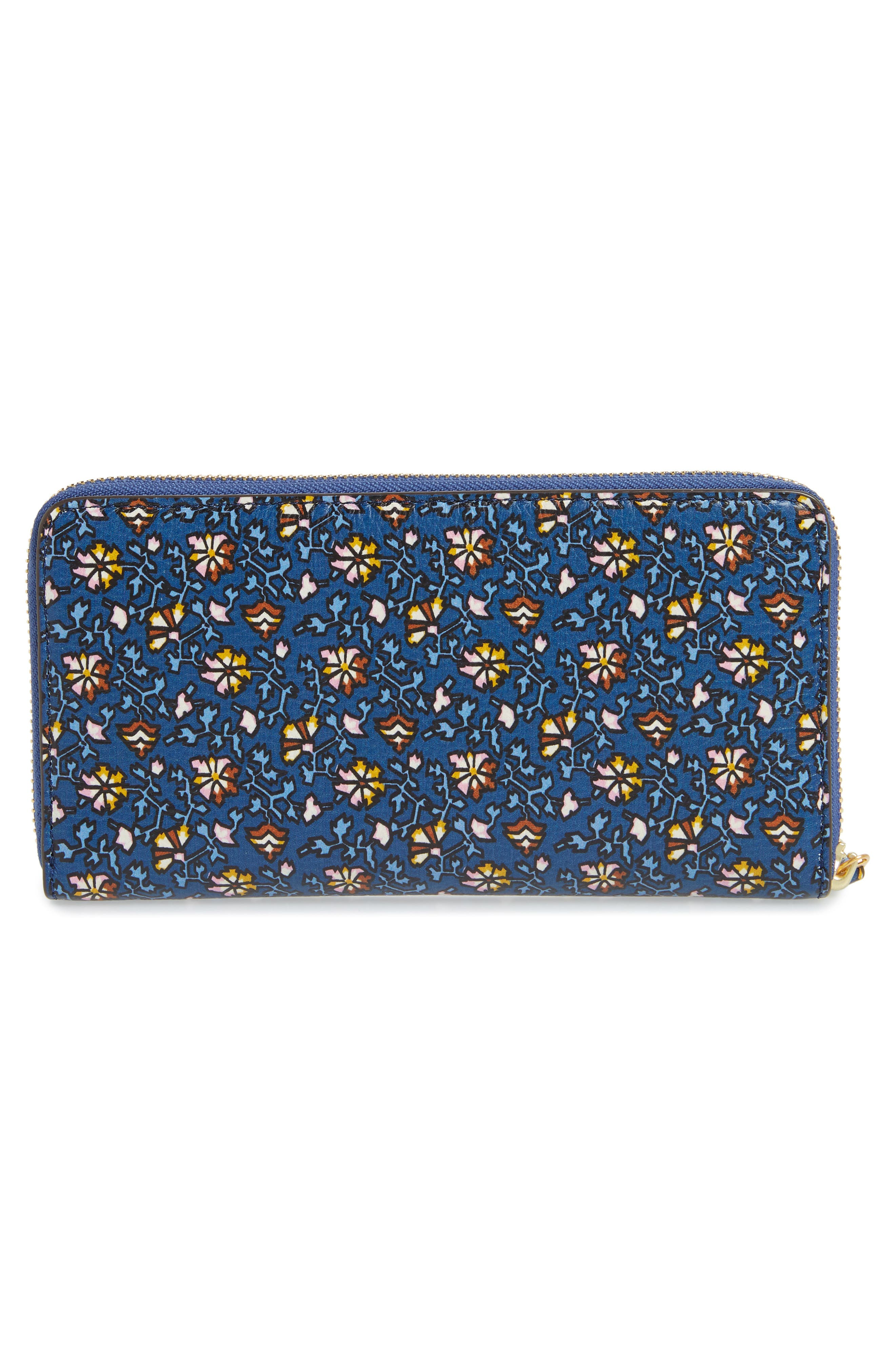Floral Print Leather Zip Around Wallet,                             Alternate thumbnail 4, color,                             Blue Wild Pansy