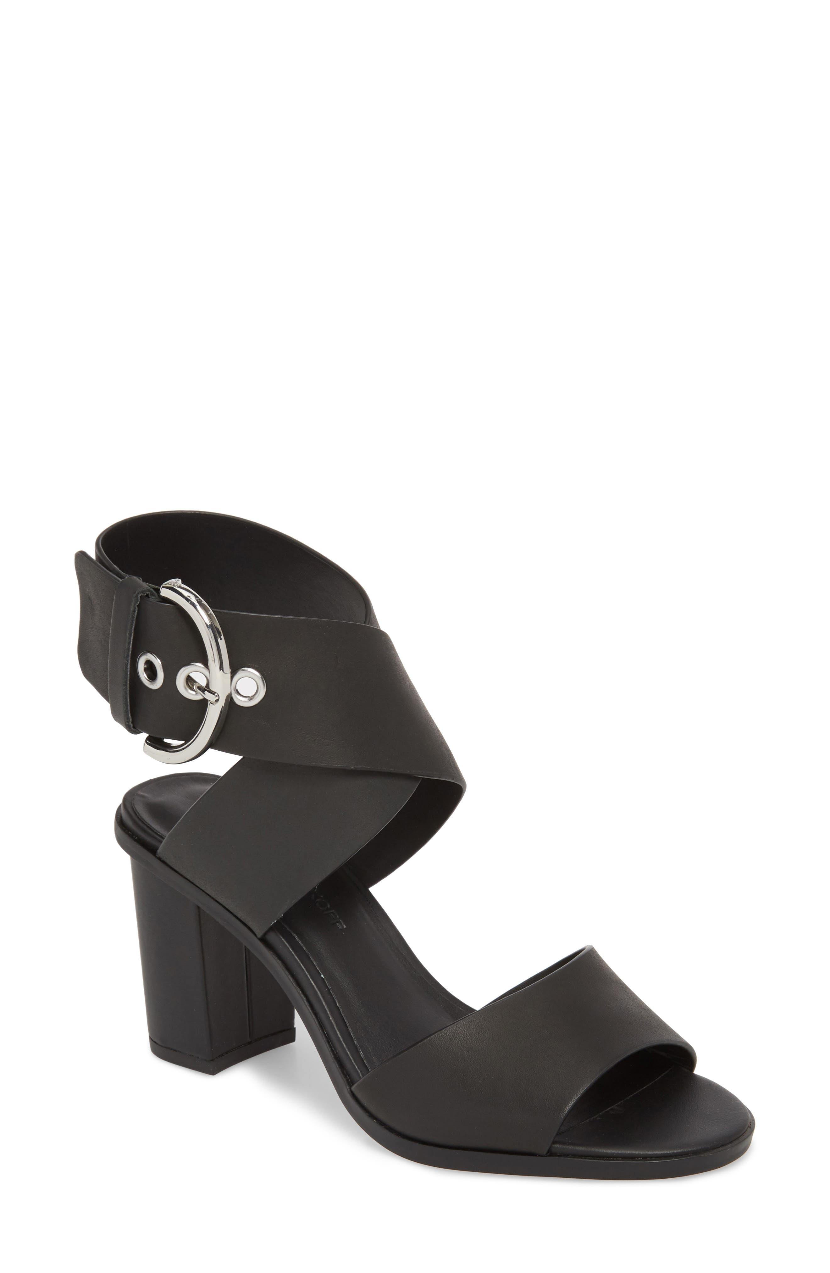 Valaree Sandal,                             Main thumbnail 1, color,                             Black Leather