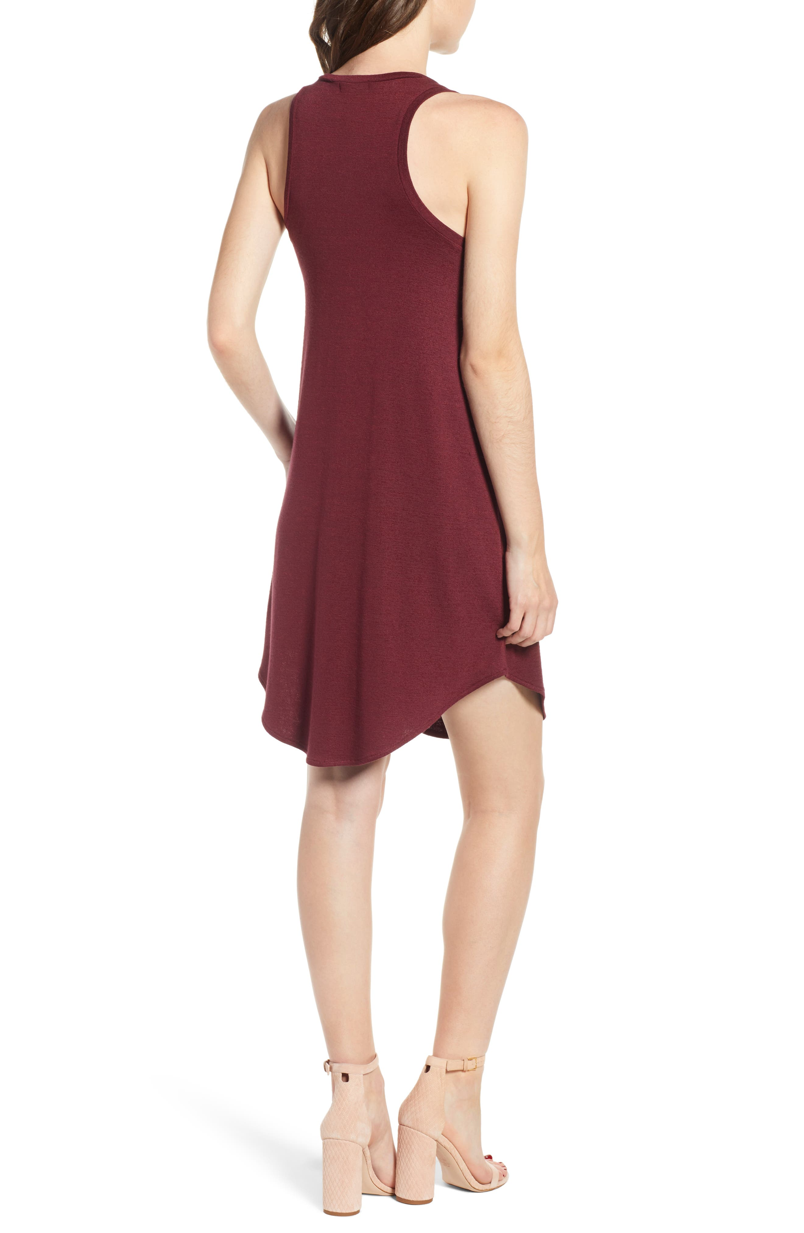 Tank Shift Dress,                             Alternate thumbnail 2, color,                             Red Tannin
