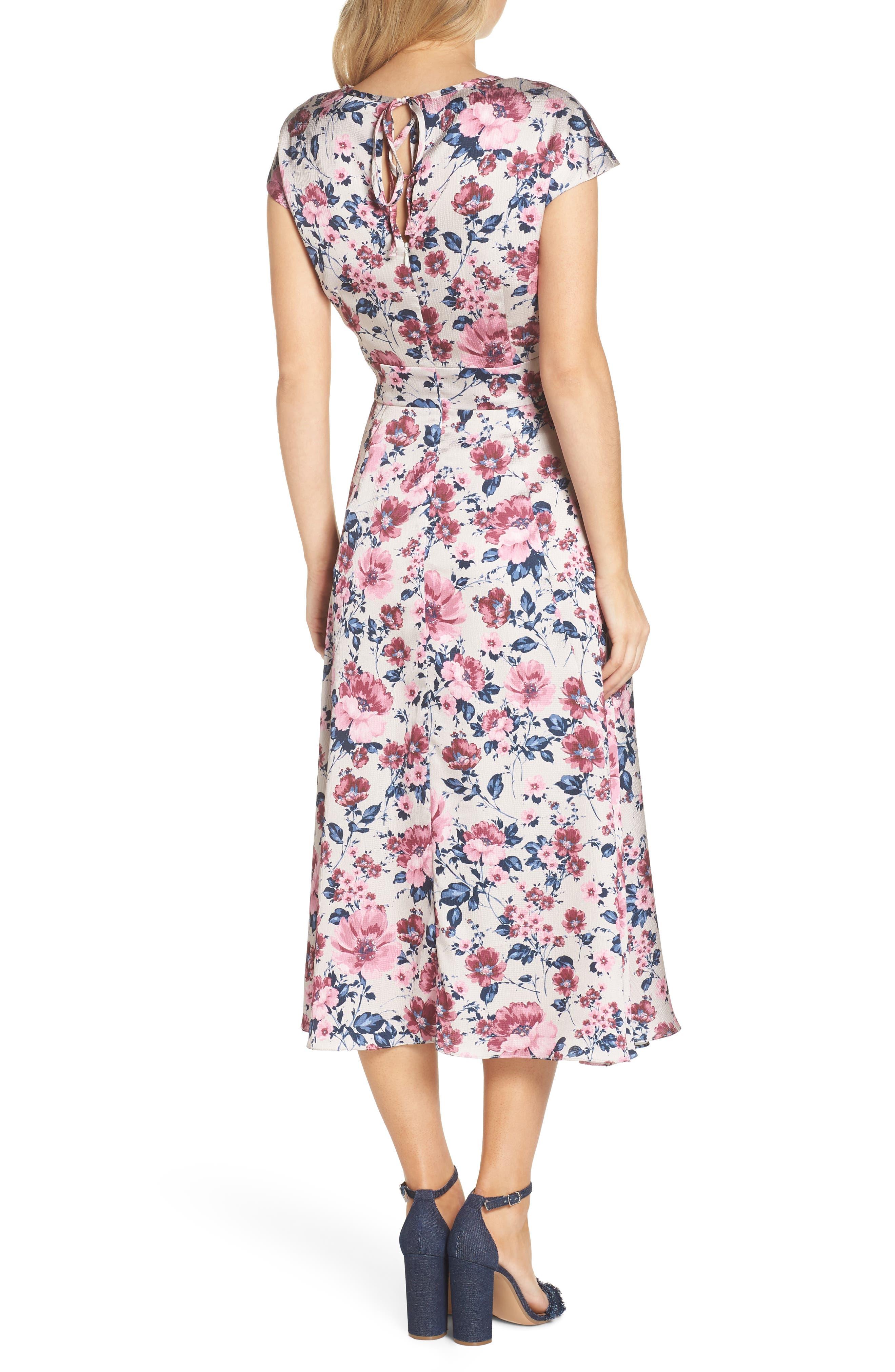 Julia Seersucker Midi Dress,                             Alternate thumbnail 3, color,                             Beige/ Pink