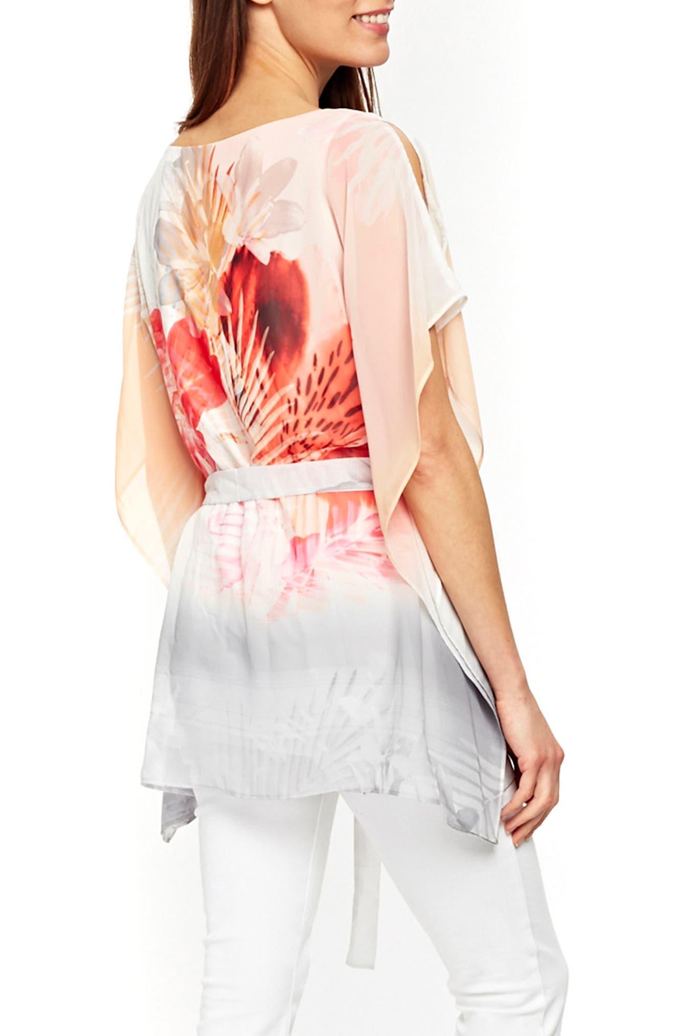 Palm Sunrise Slit Sleeve Belted Top,                             Alternate thumbnail 2, color,                             Blush