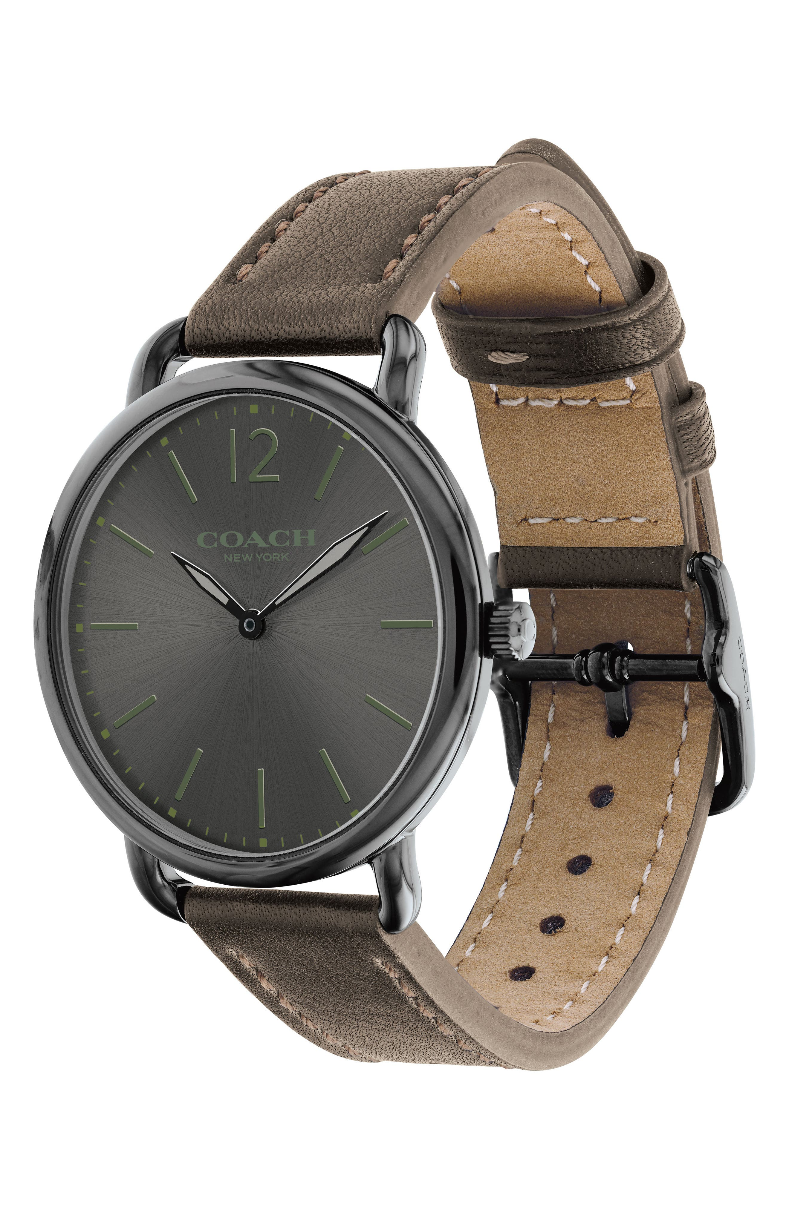 Delancey Leather Strap Watch, 40mm,                             Alternate thumbnail 3, color,                             Fatigue/ Grey