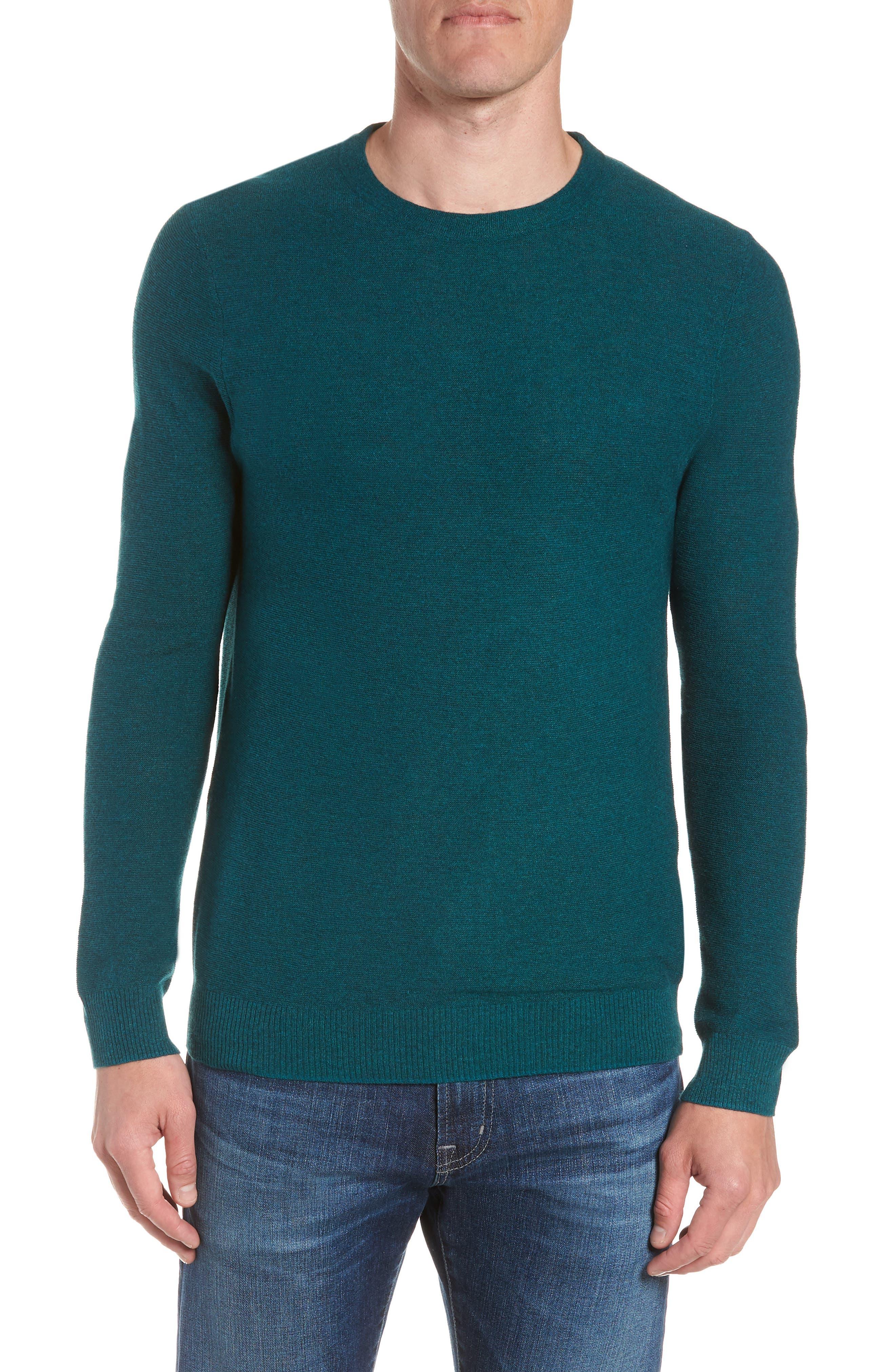 Slim Fit Crewneck Sweater,                             Main thumbnail 1, color,                             Heather Peacock