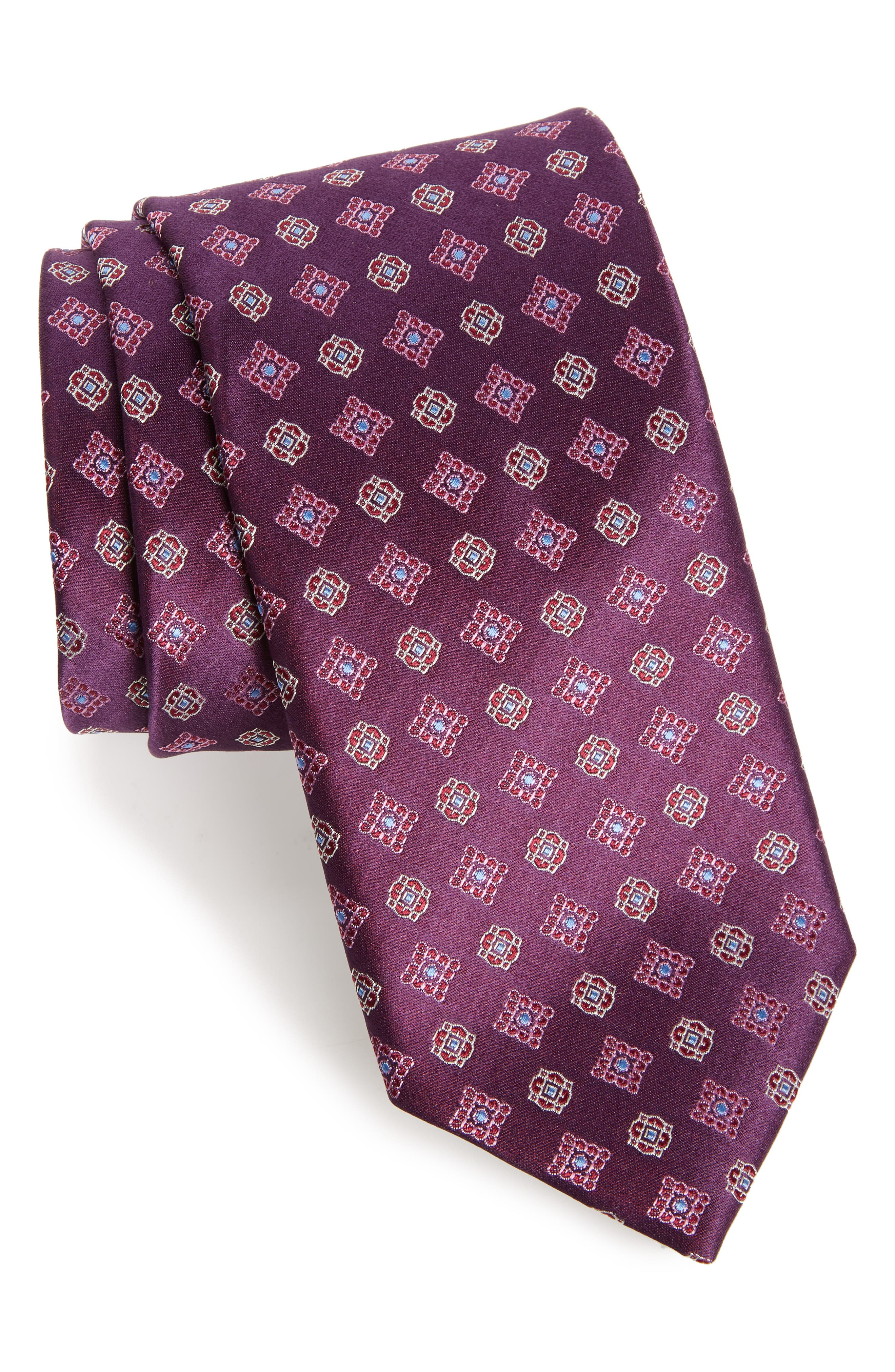 Neat Silk Tie,                         Main,                         color, Purple