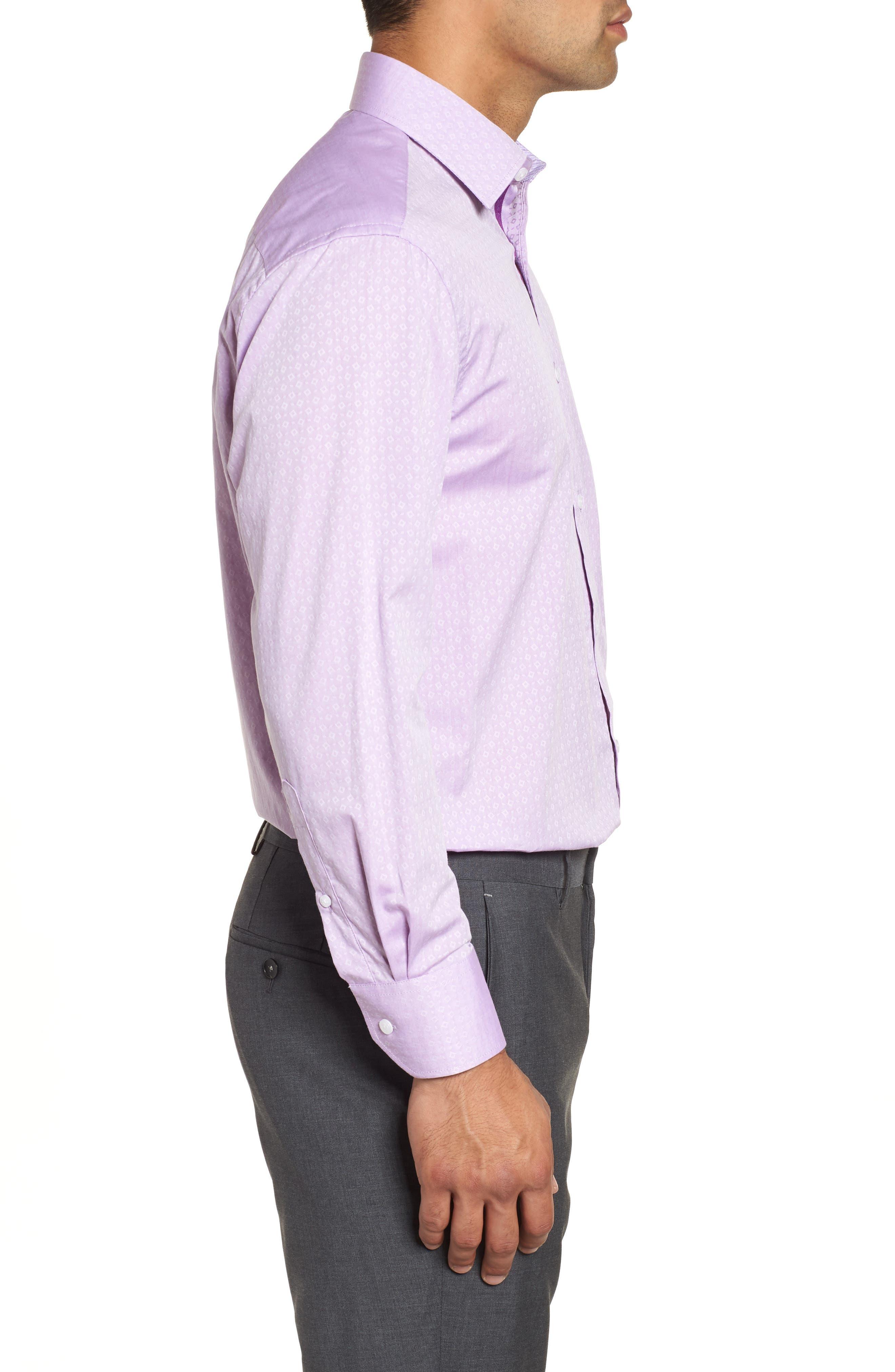 Regular Fit Geometric Dress Shirt,                             Alternate thumbnail 4, color,                             Purple