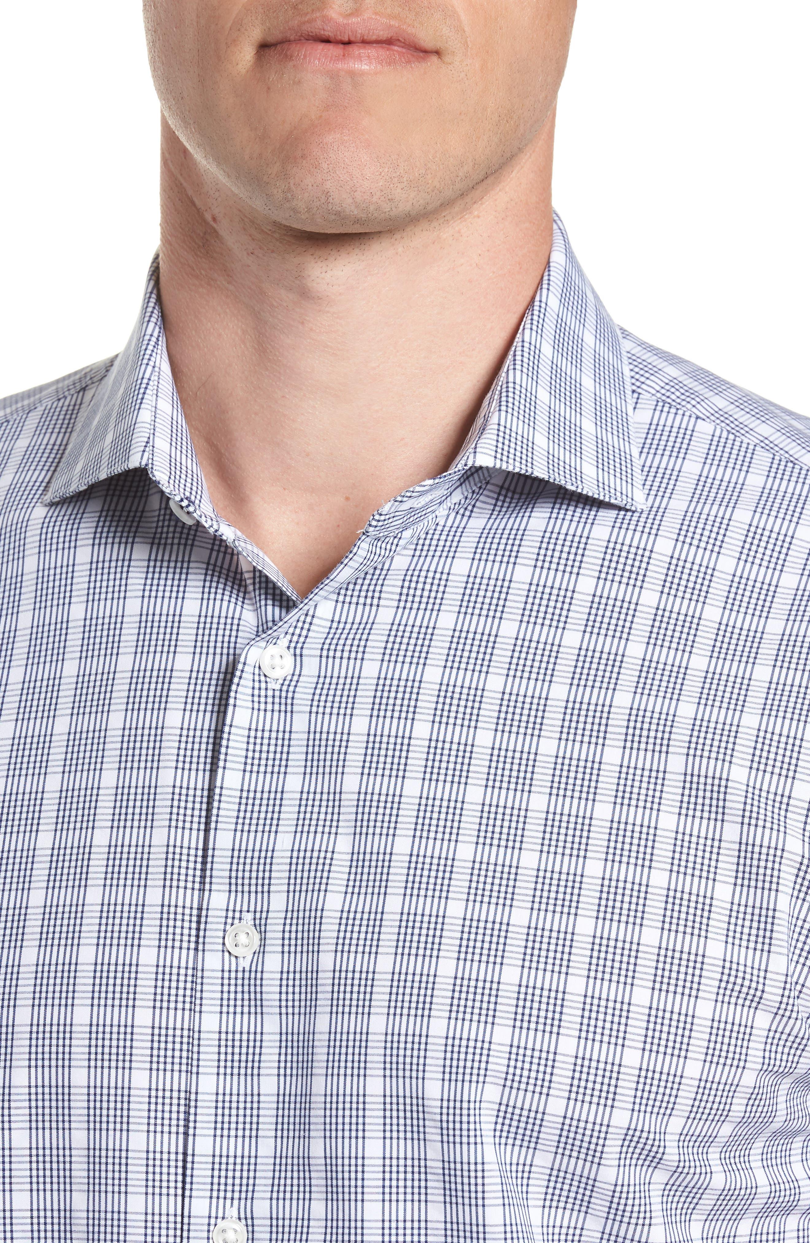 Tech-Smart Trim Fit Plaid Dress Shirt,                             Alternate thumbnail 2, color,                             Navy Dusk