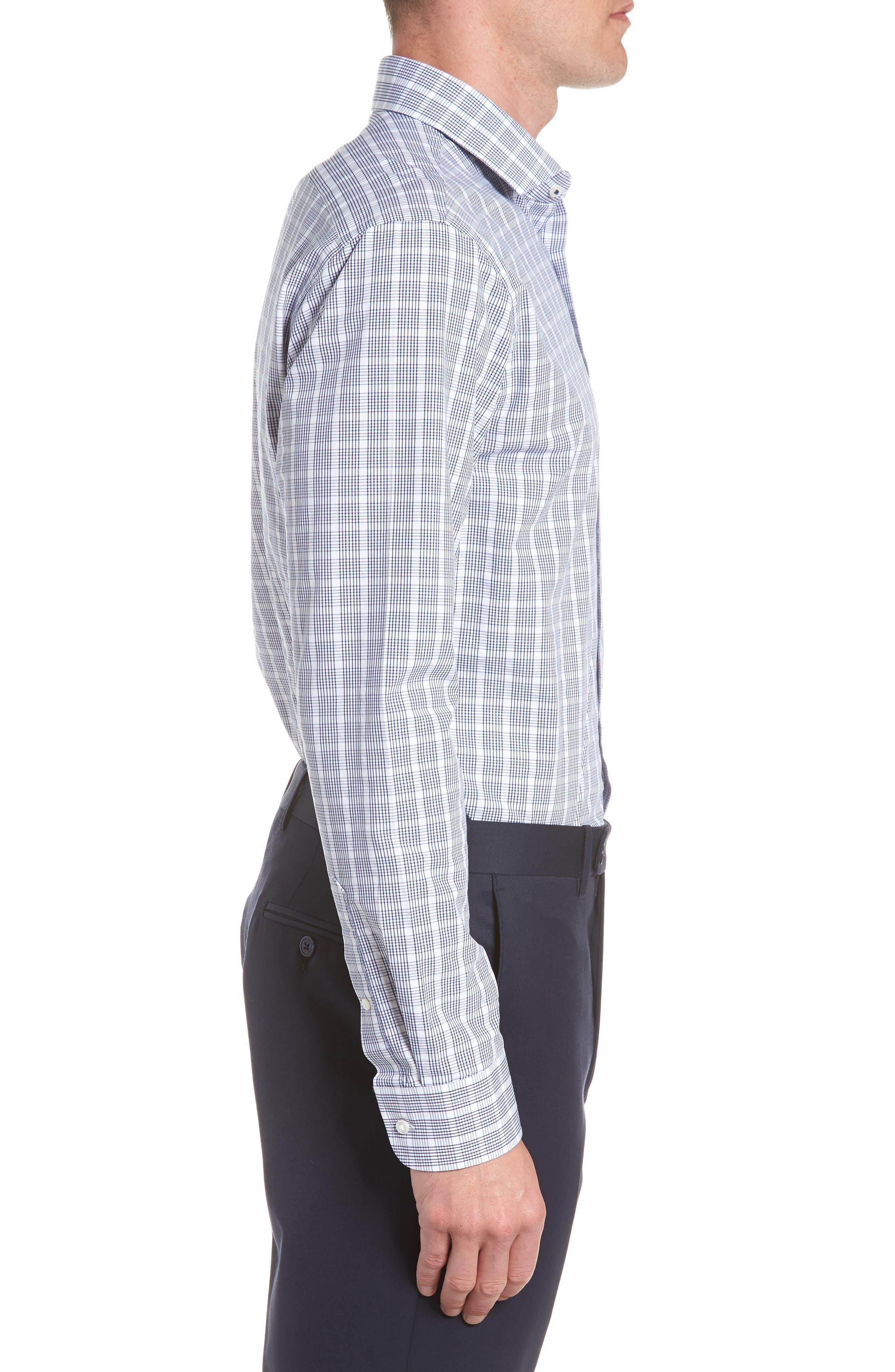 Tech-Smart Trim Fit Plaid Dress Shirt,                             Alternate thumbnail 4, color,                             Navy Dusk