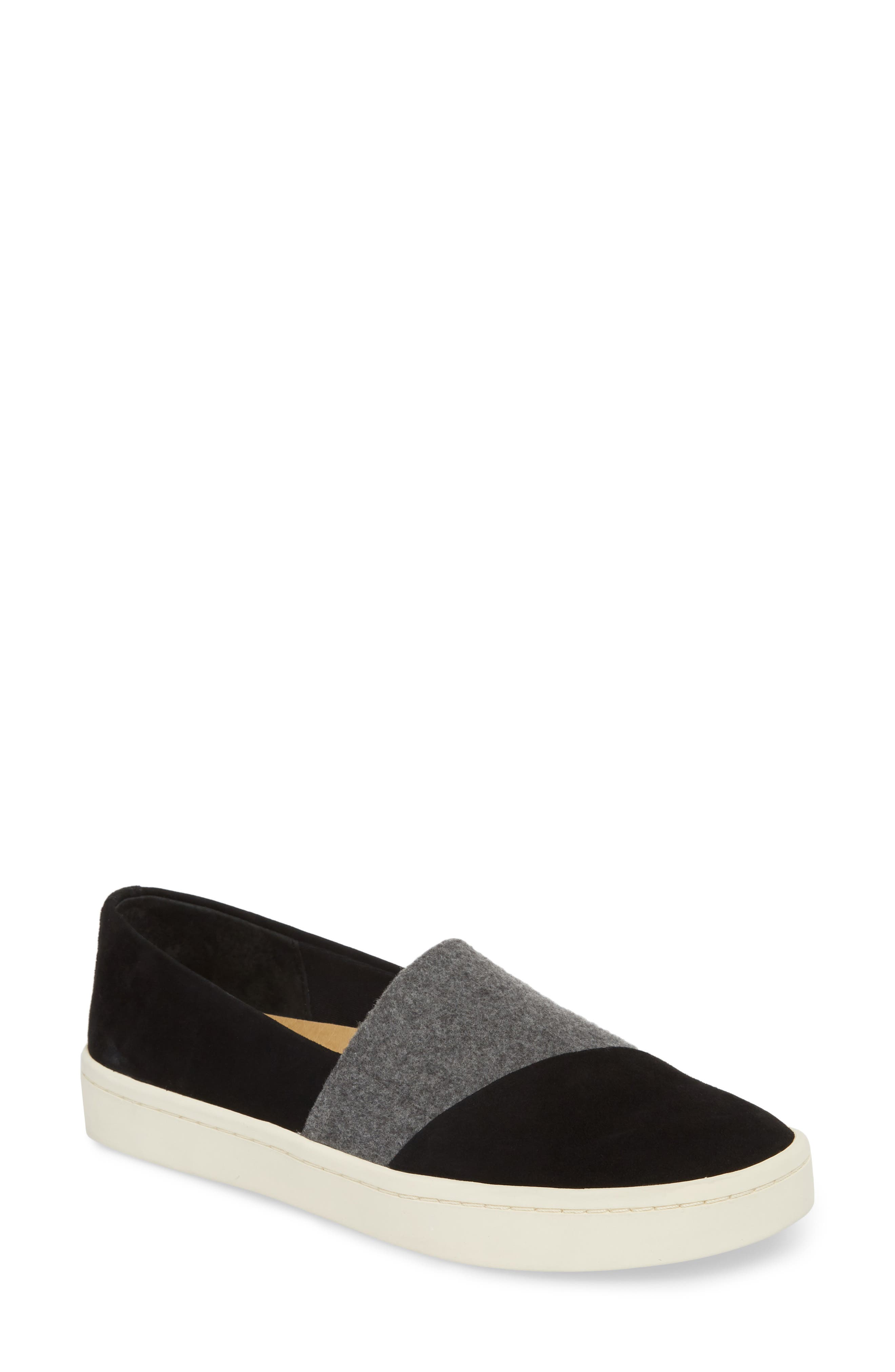 Nouvel Slip-On Sneaker,                             Main thumbnail 1, color,                             Black/ Grey Suede