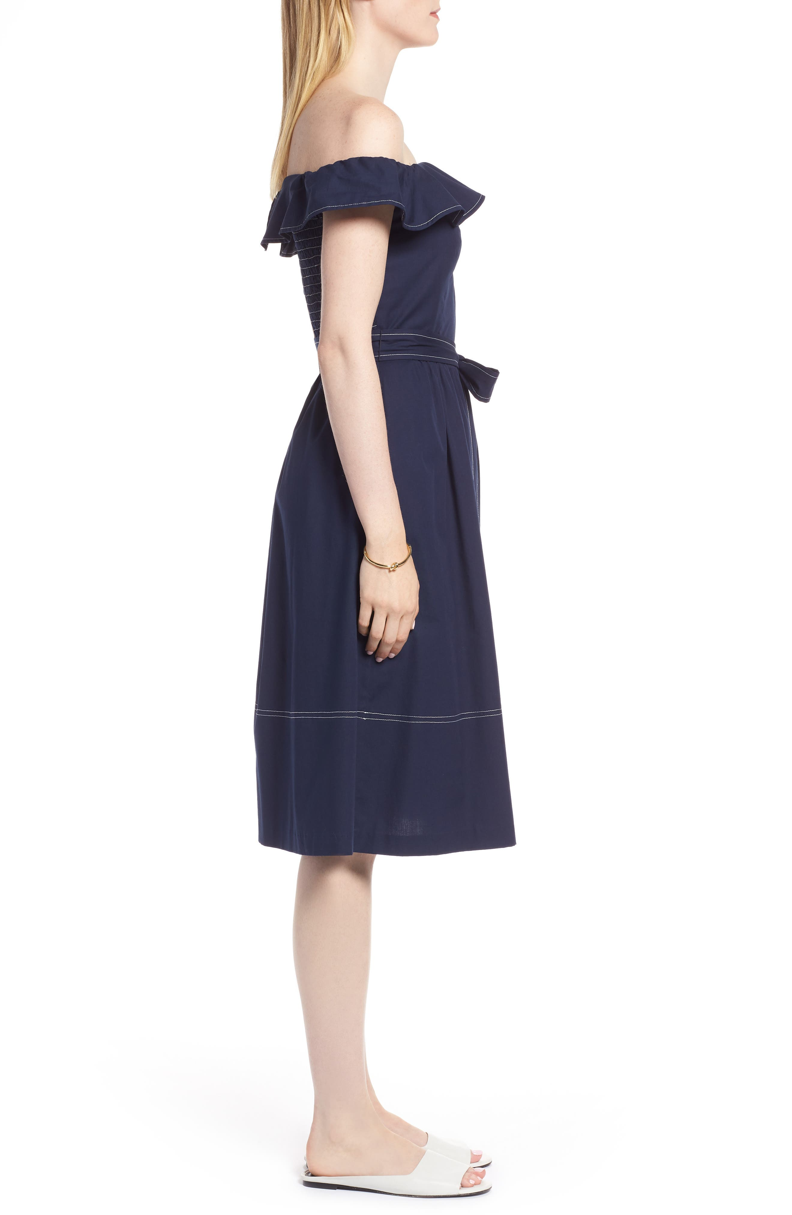 Off the Shoulder Contrast Stitch Dress,                             Alternate thumbnail 3, color,                             Navy Sapphire
