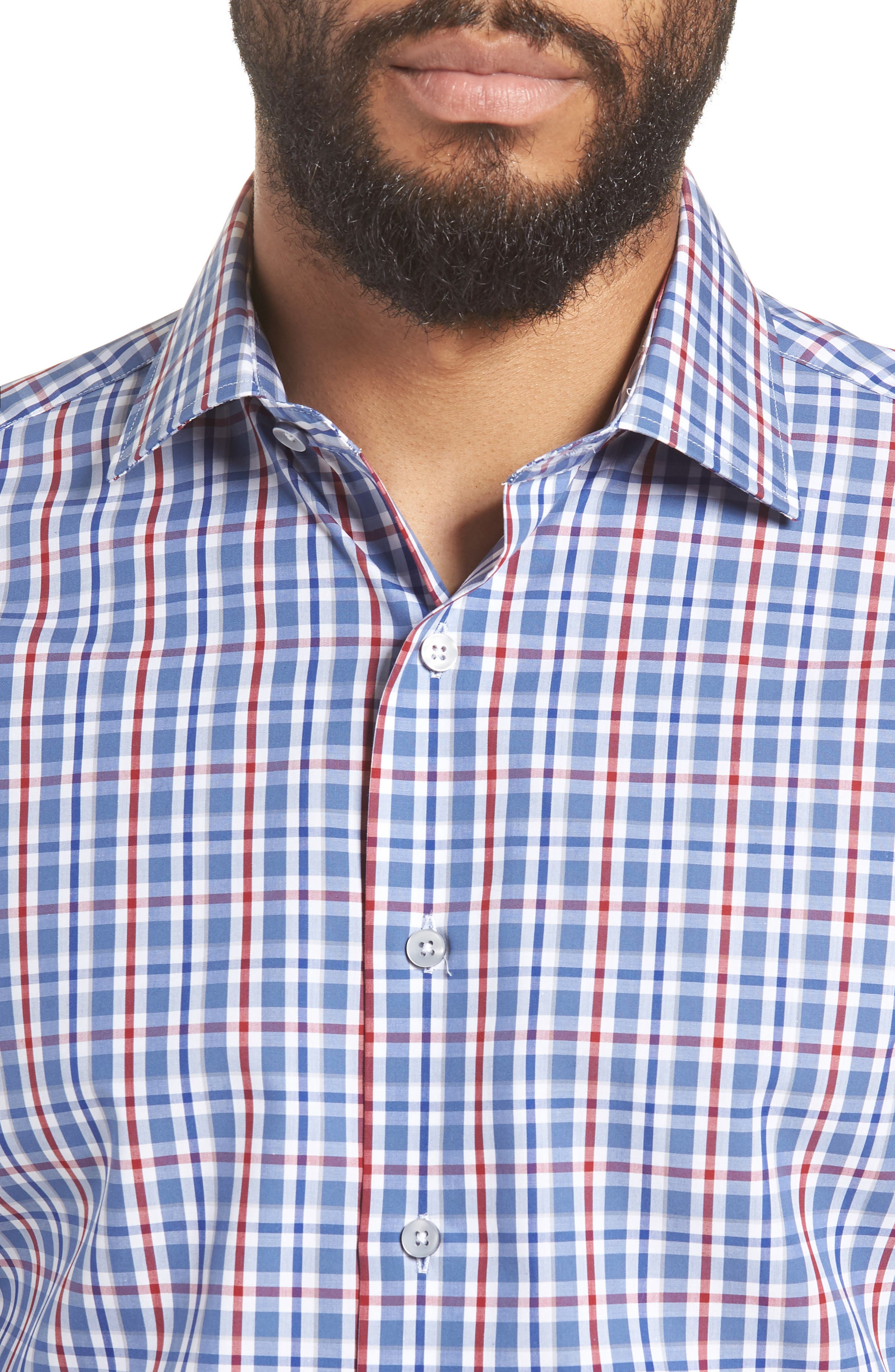 Trim Fit Plaid Dress Shirt,                             Alternate thumbnail 2, color,                             Navy/ Red