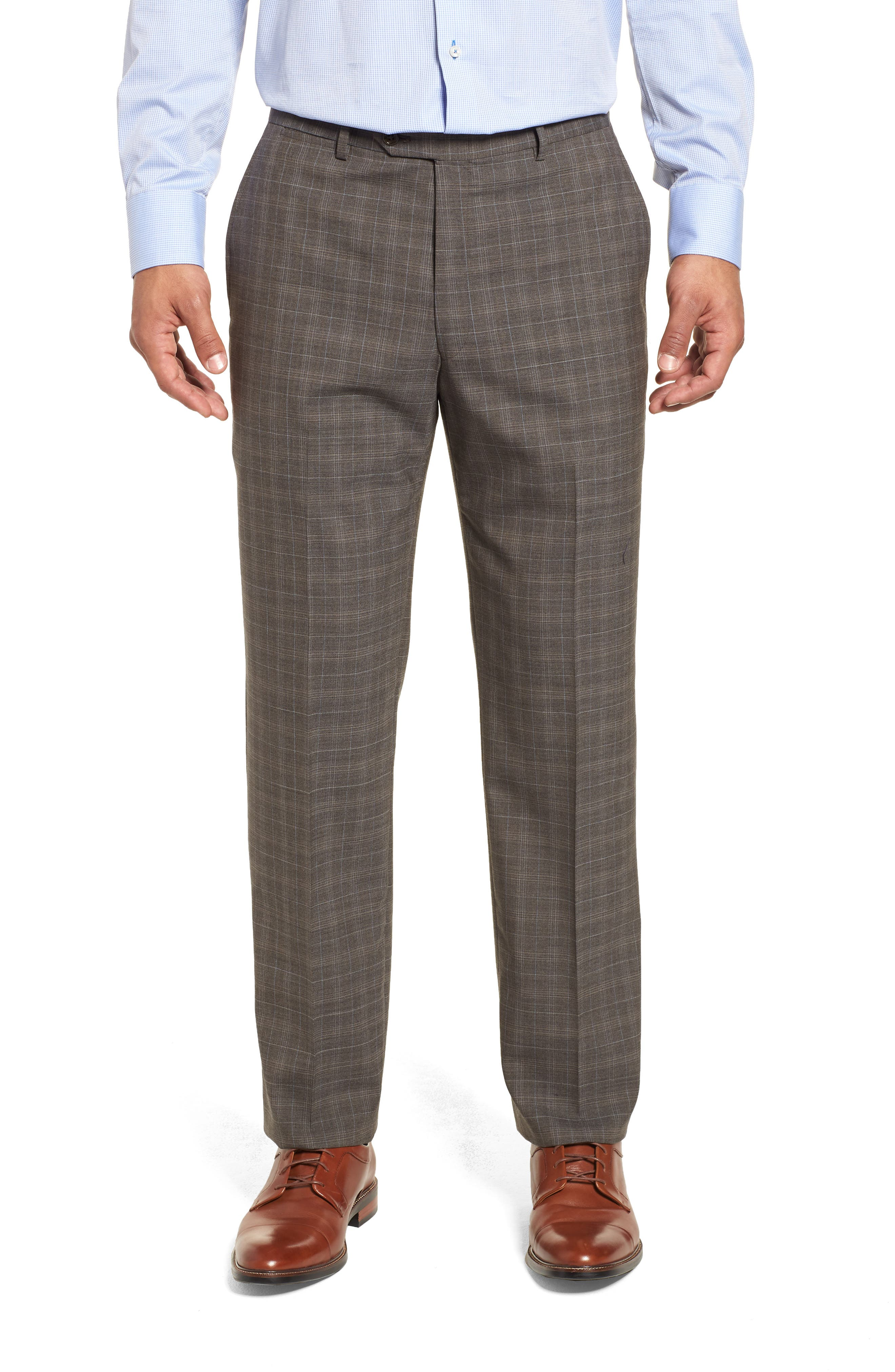 Classic Fit Plaid Stretch Wool Suit,                             Alternate thumbnail 6, color,                             Brown