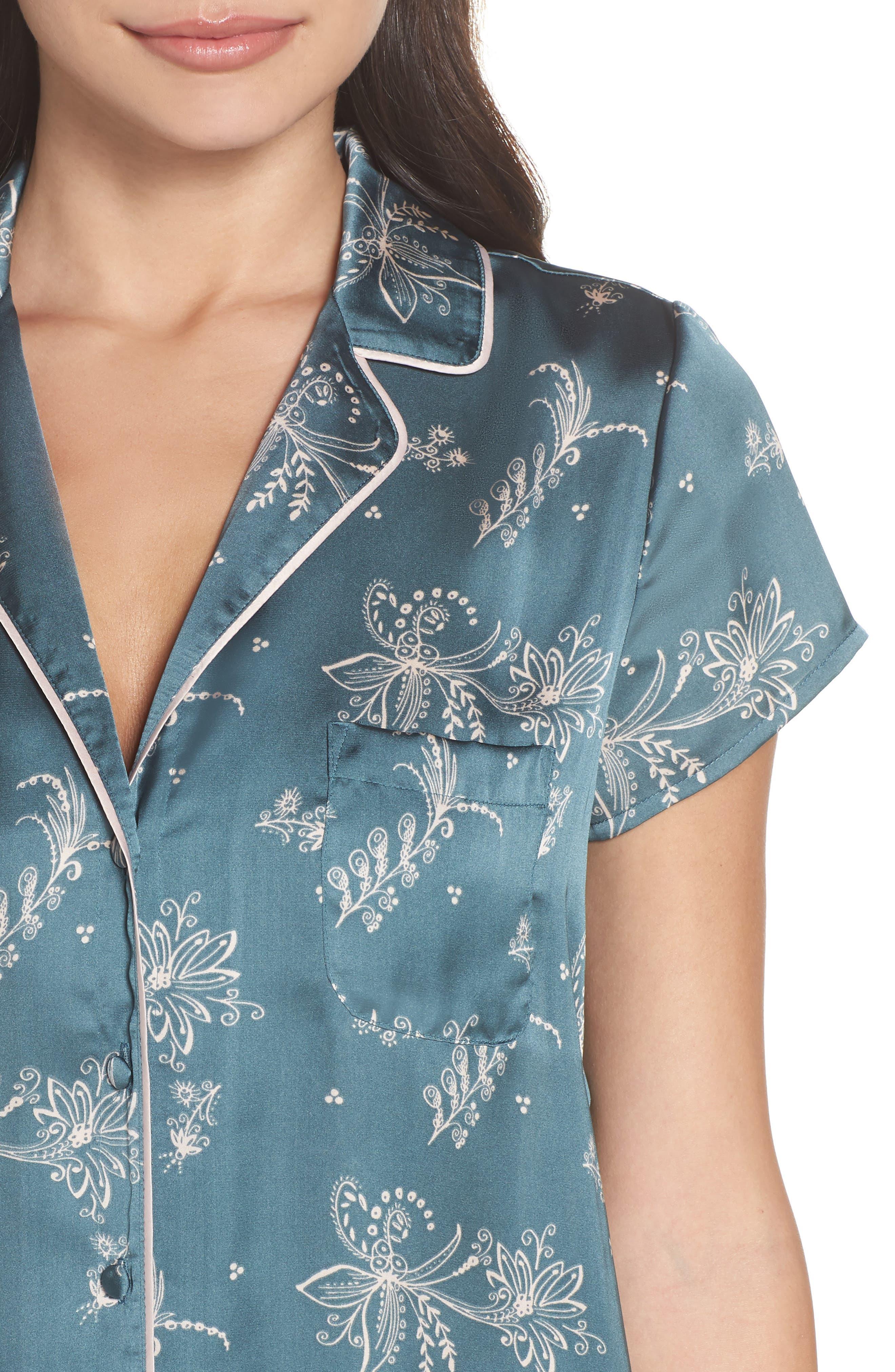 Satin Pajamas,                             Alternate thumbnail 4, color,                             Blue Goblin Flirty Floral