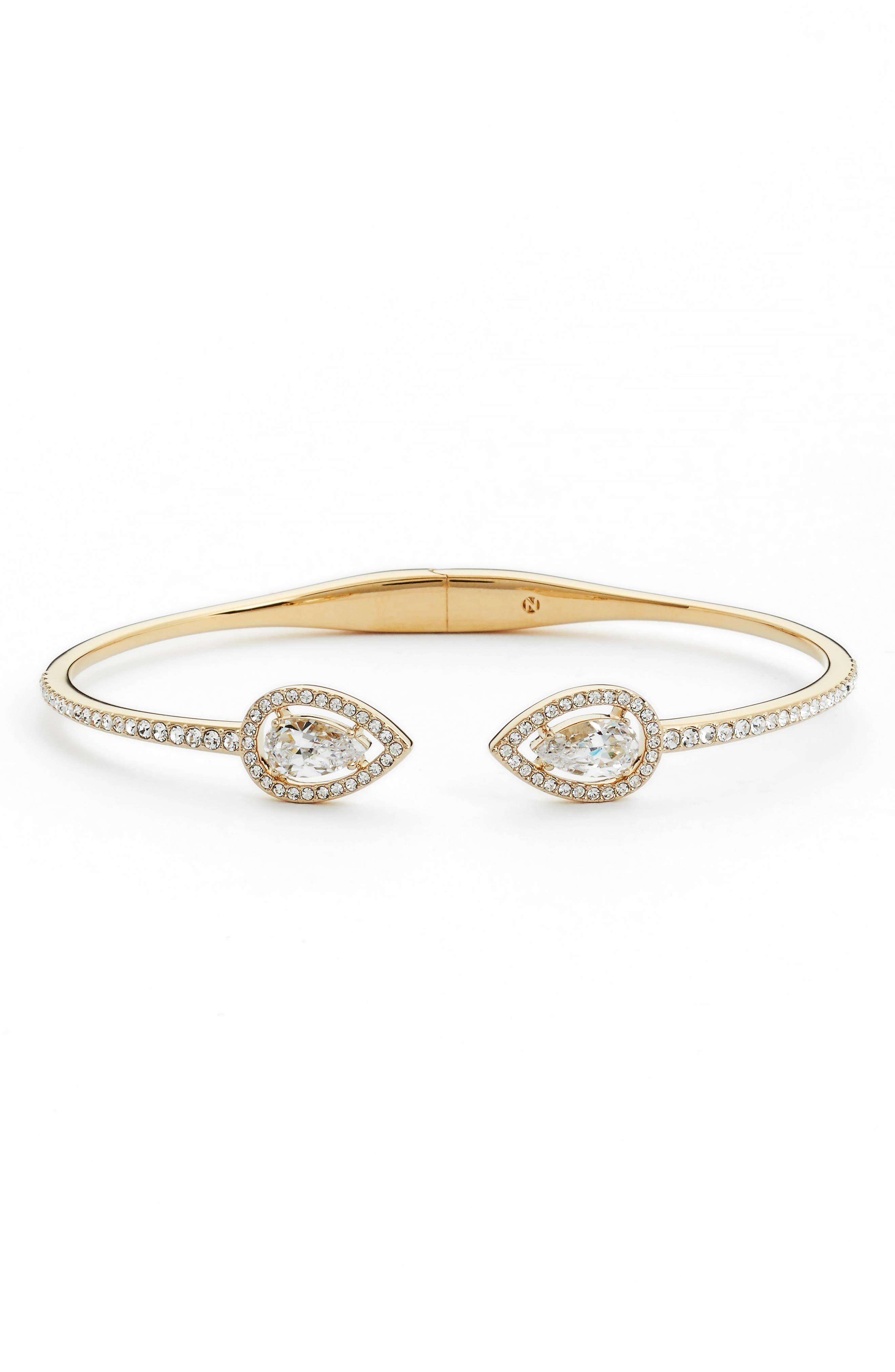 Pear Halo Hinge Bracelet,                         Main,                         color, Gold