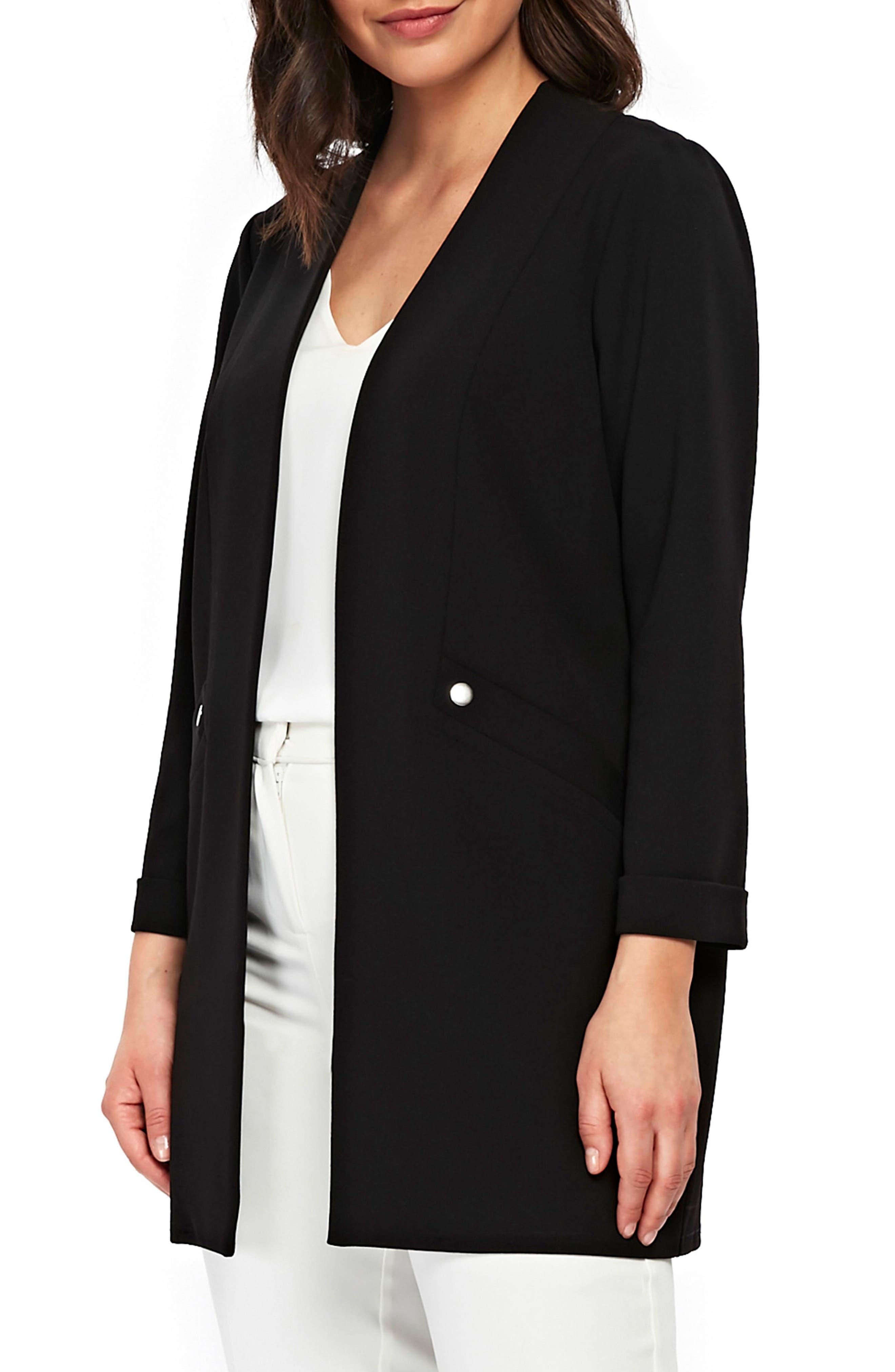 Popper Pocket Duster Jacket,                         Main,                         color, Black