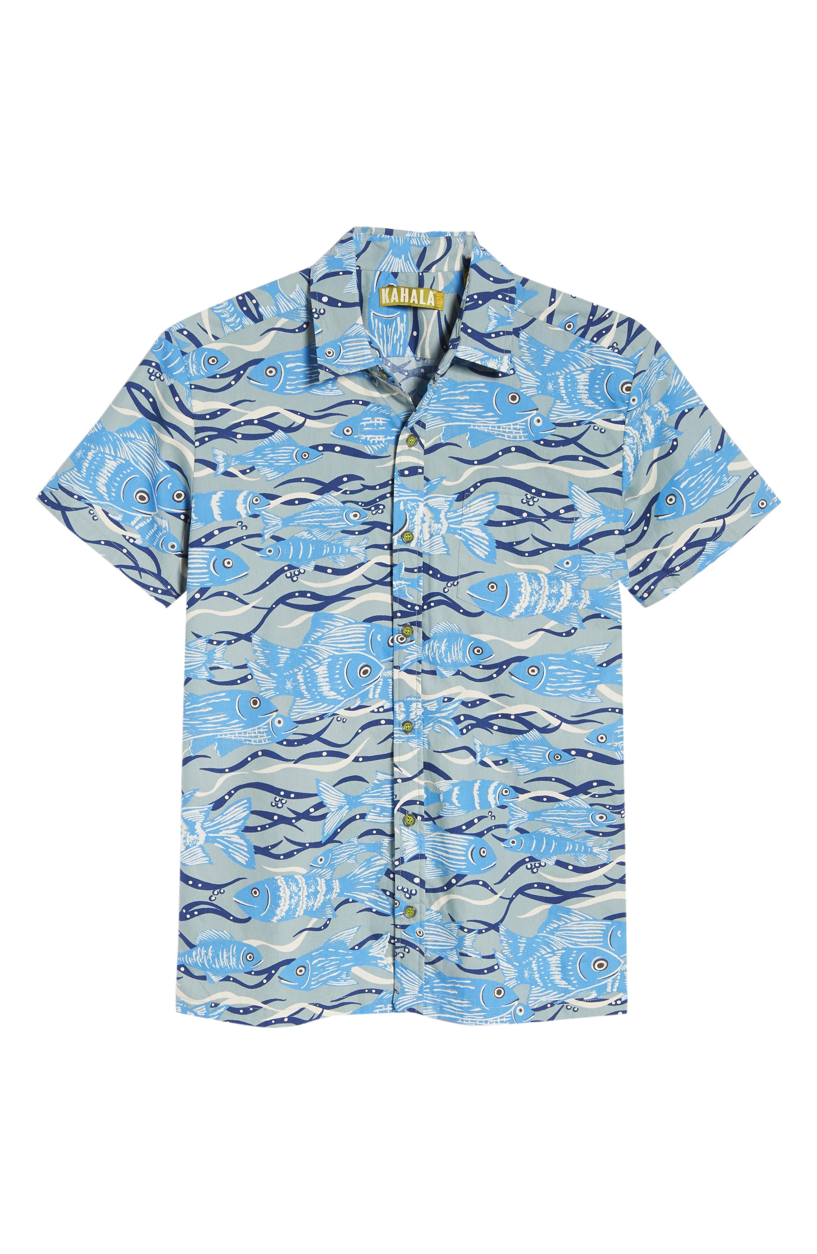 Sea Tangle Trim Fit Sport Shirt,                             Alternate thumbnail 6, color,                             Grey