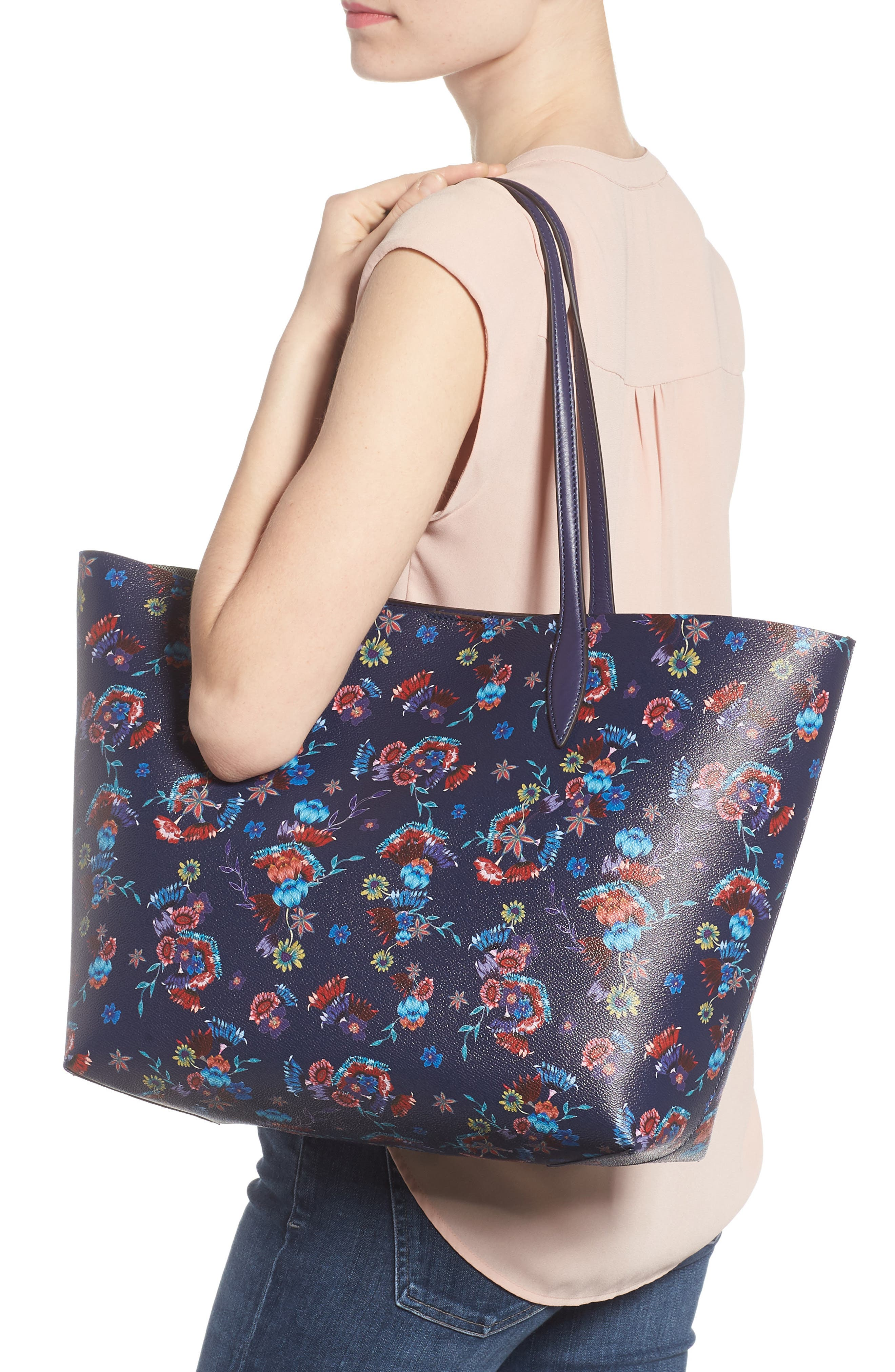 Large Heather Tote,                             Alternate thumbnail 2, color,                             Floral Blue
