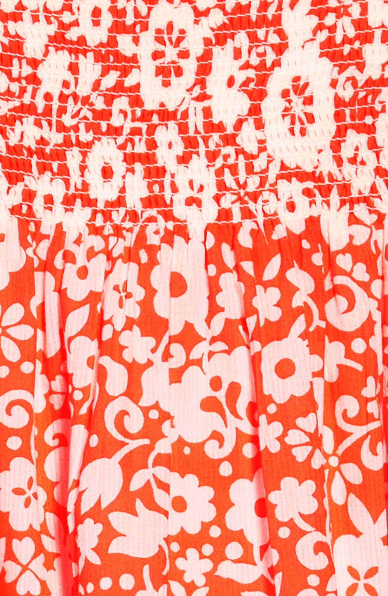 Surf Floral Sundress,                             Alternate thumbnail 3, color,                             Shocking Red Surf Floral