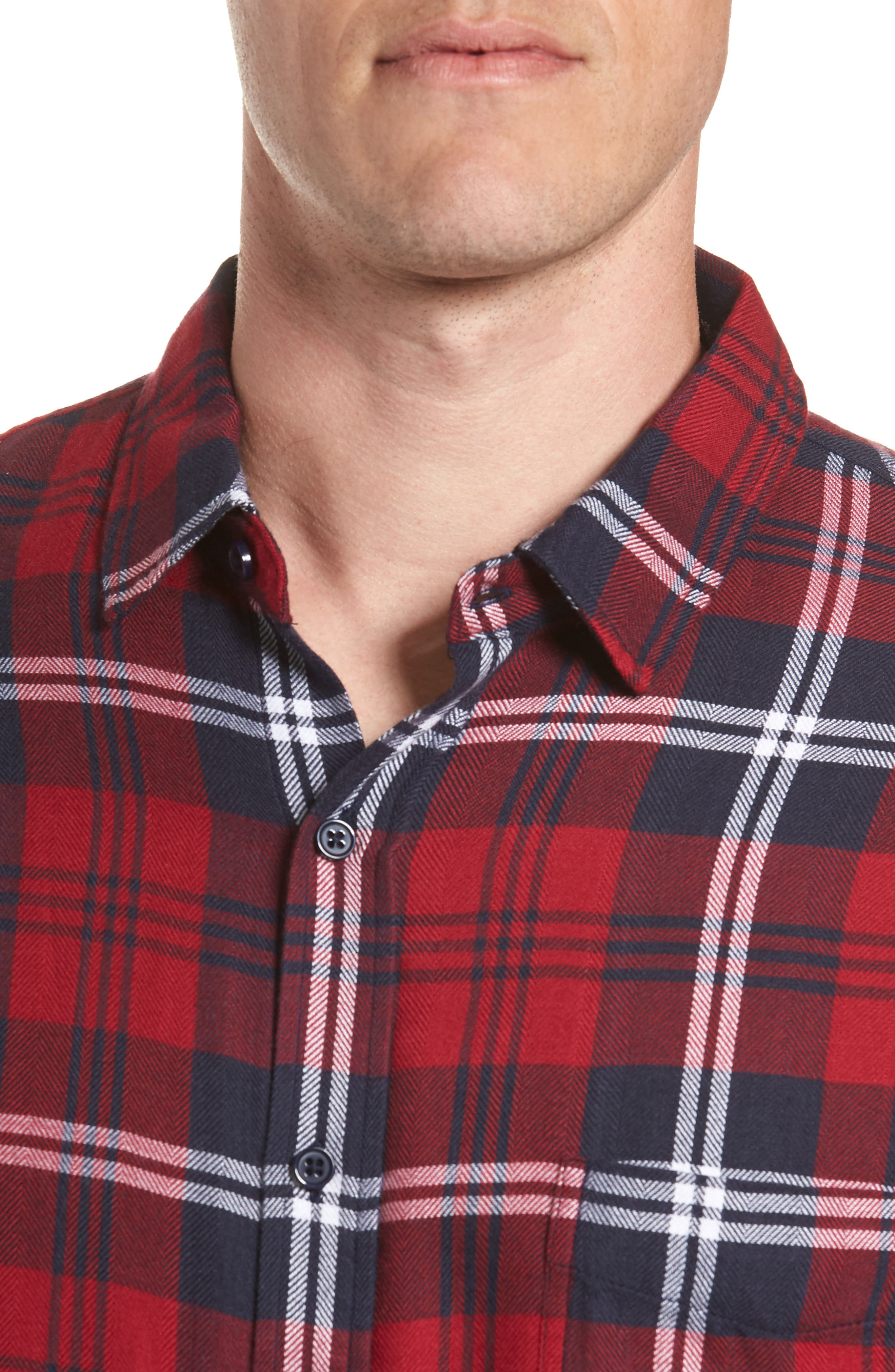 Lennox Sport Shirt,                             Alternate thumbnail 2, color,                             Red/ Navy/ White