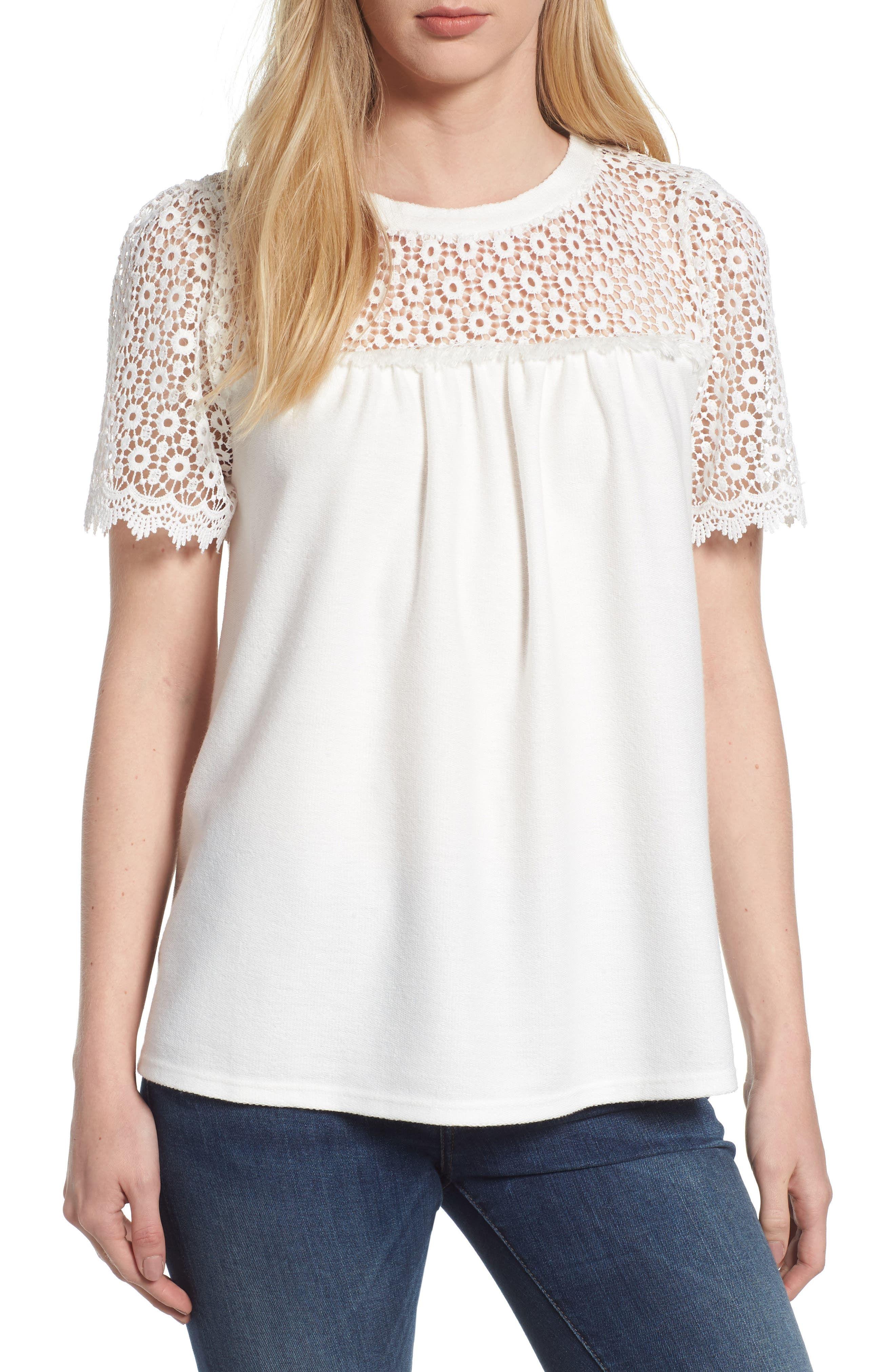 Lace Mixed Media Top,                         Main,                         color, White