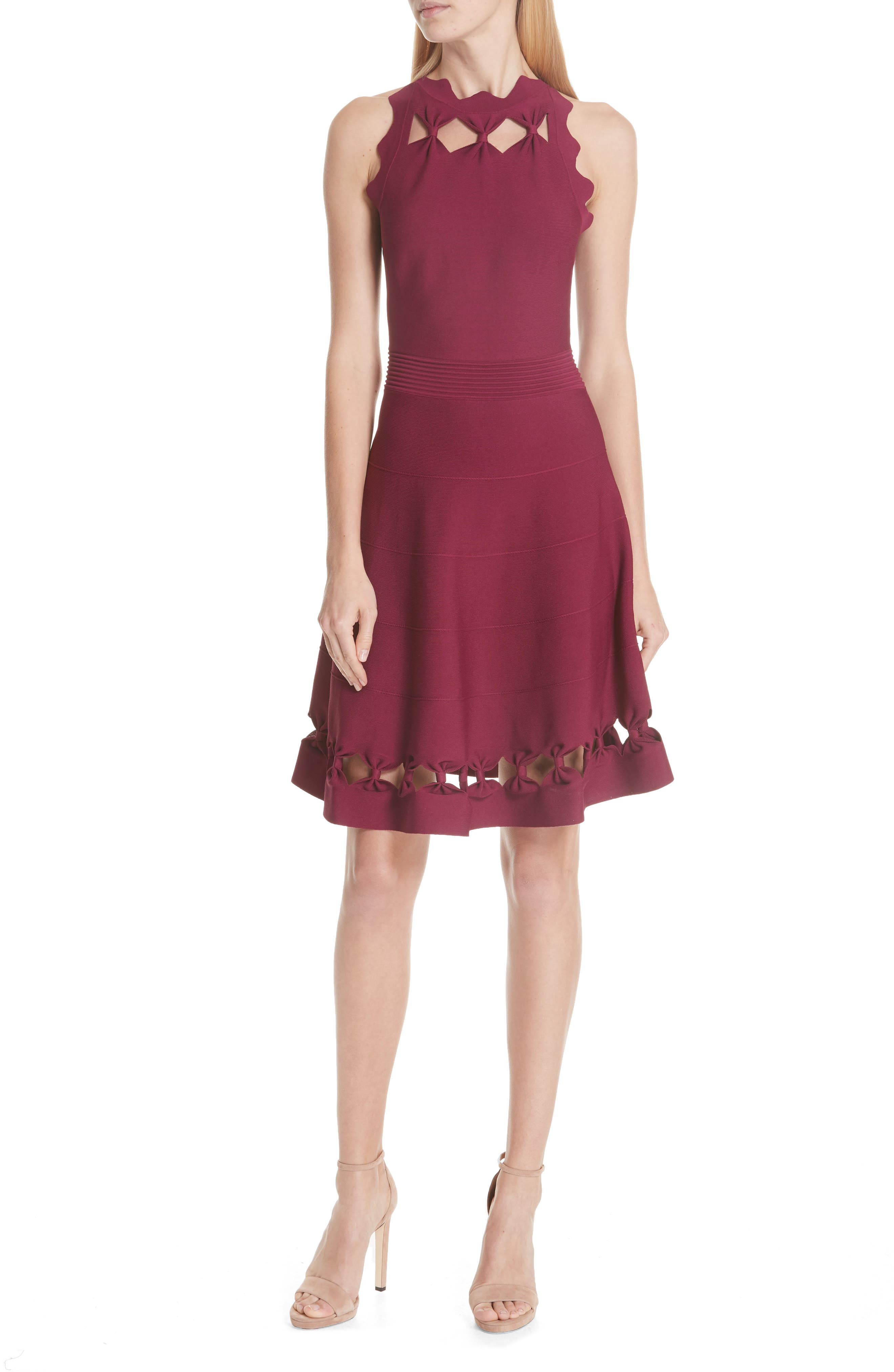 Cherina Bow Detail Fit & Flare Knit Dress,                         Main,                         color, Maroon