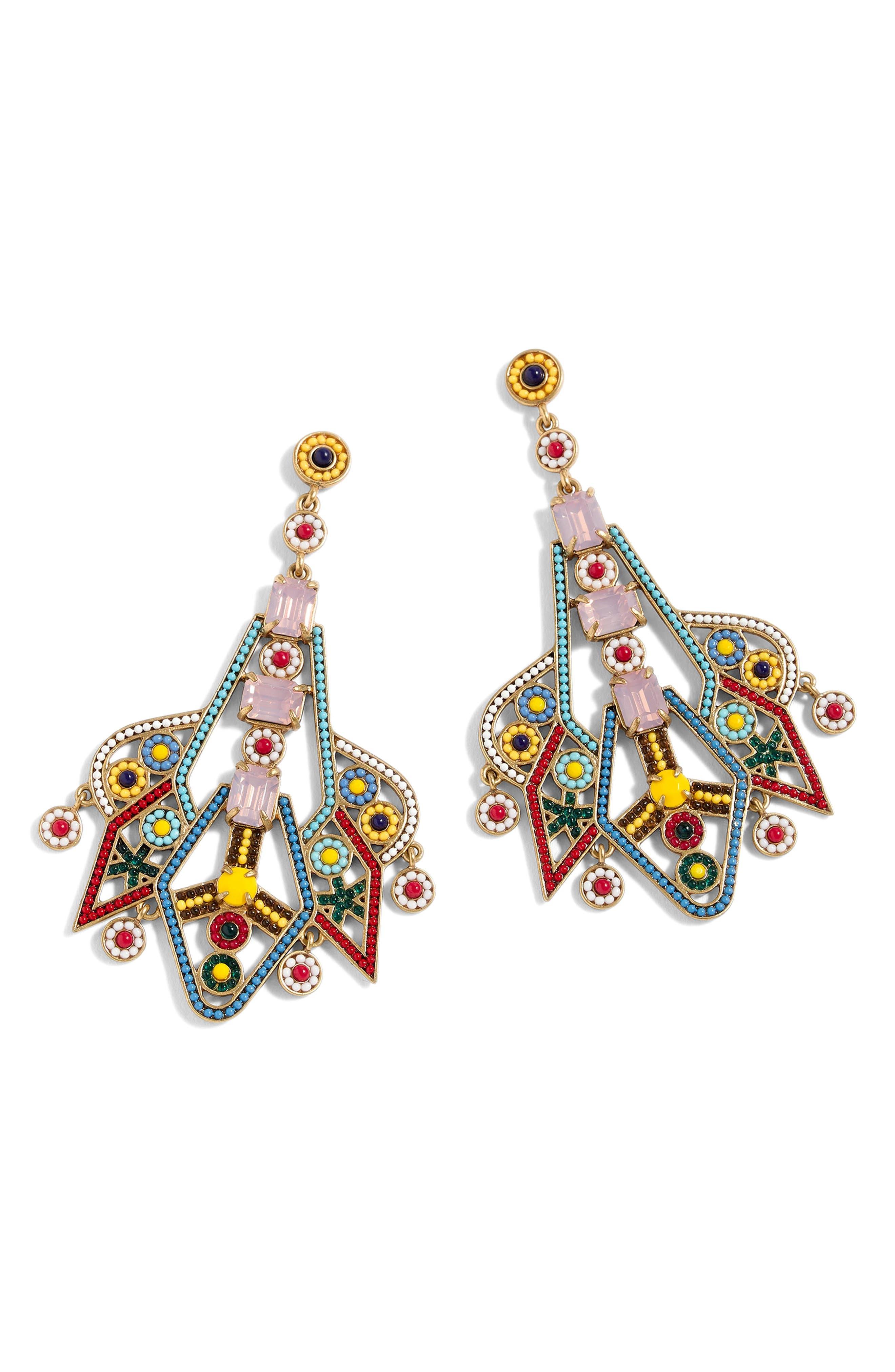 Bead & Stone Drop Earrings,                             Main thumbnail 1, color,                             Yellow Multi