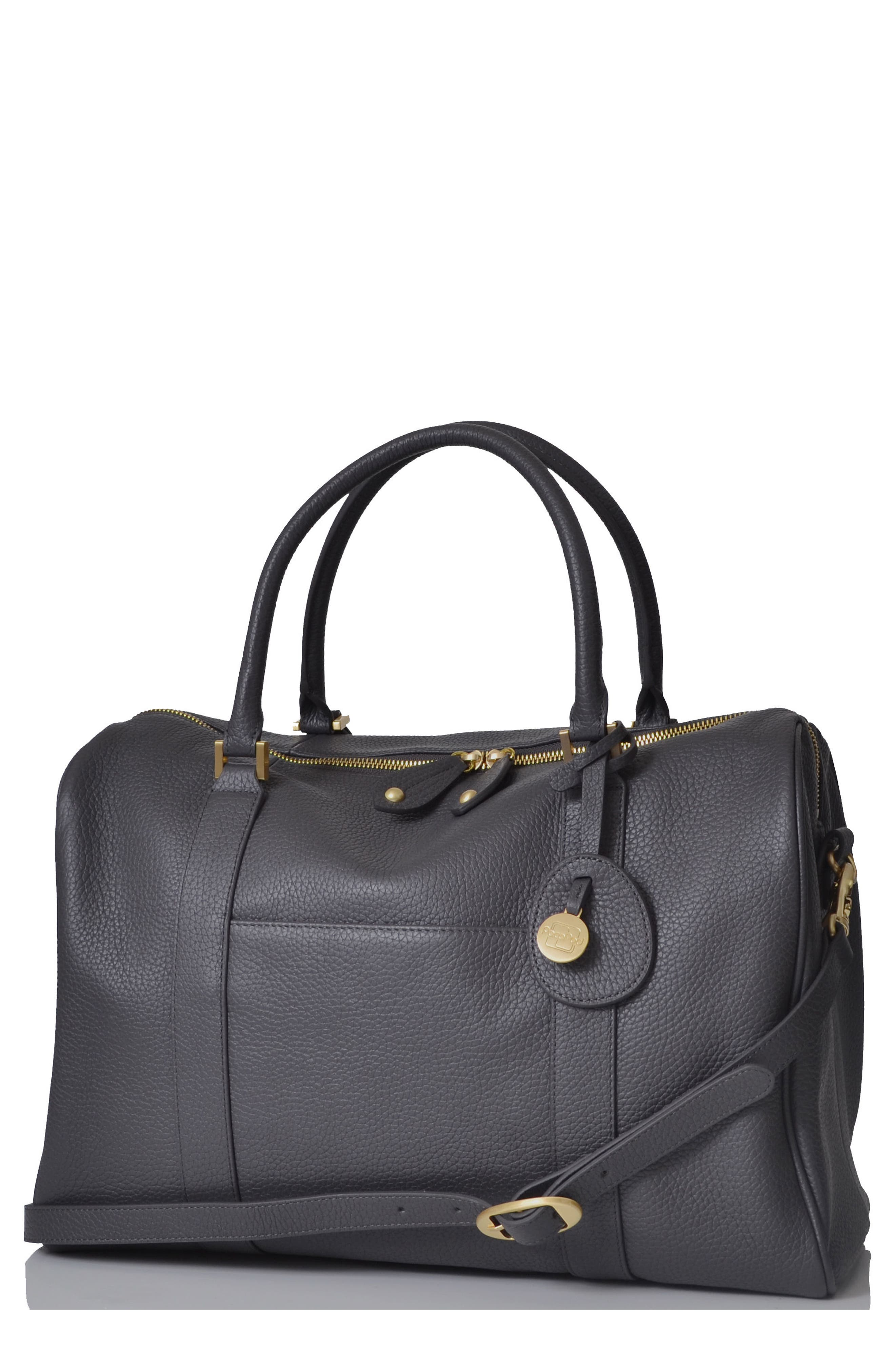 'Firenze' Leather Diaper Bag,                         Main,                         color, Pewter