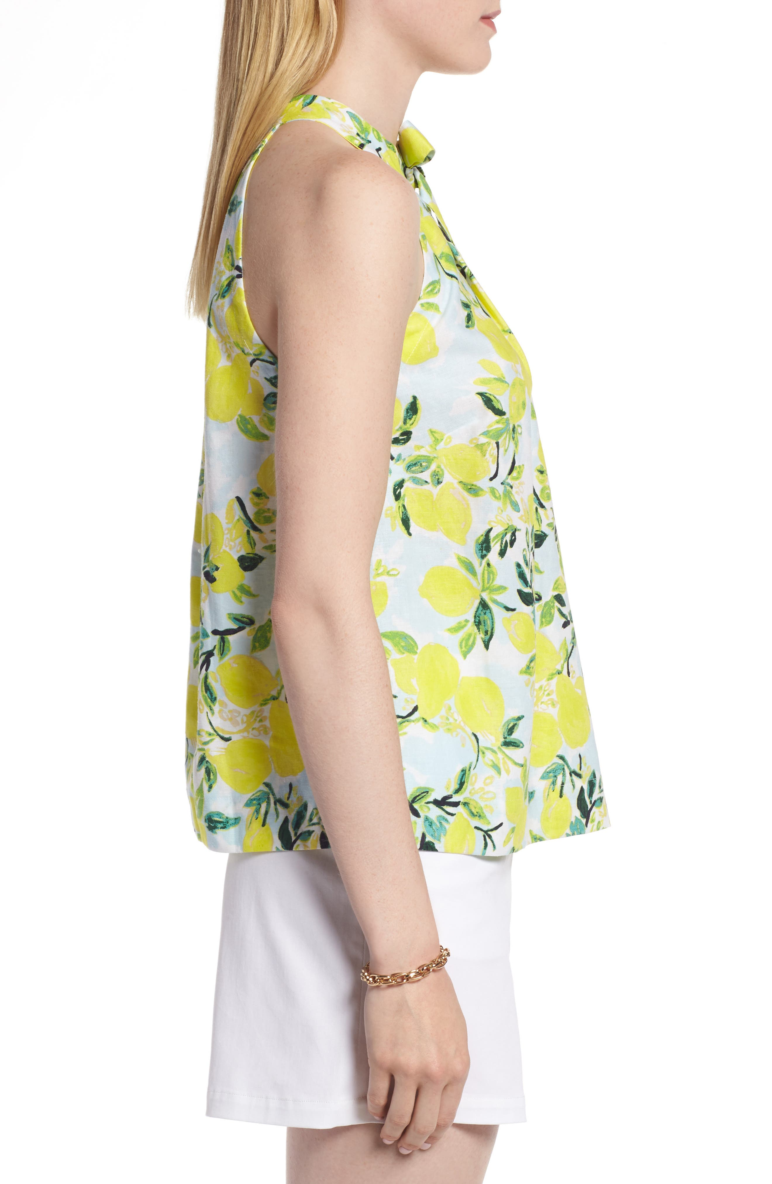 Tie Neck Linen Blend Top,                             Alternate thumbnail 3, color,                             Blue- Yellow Citrus Print