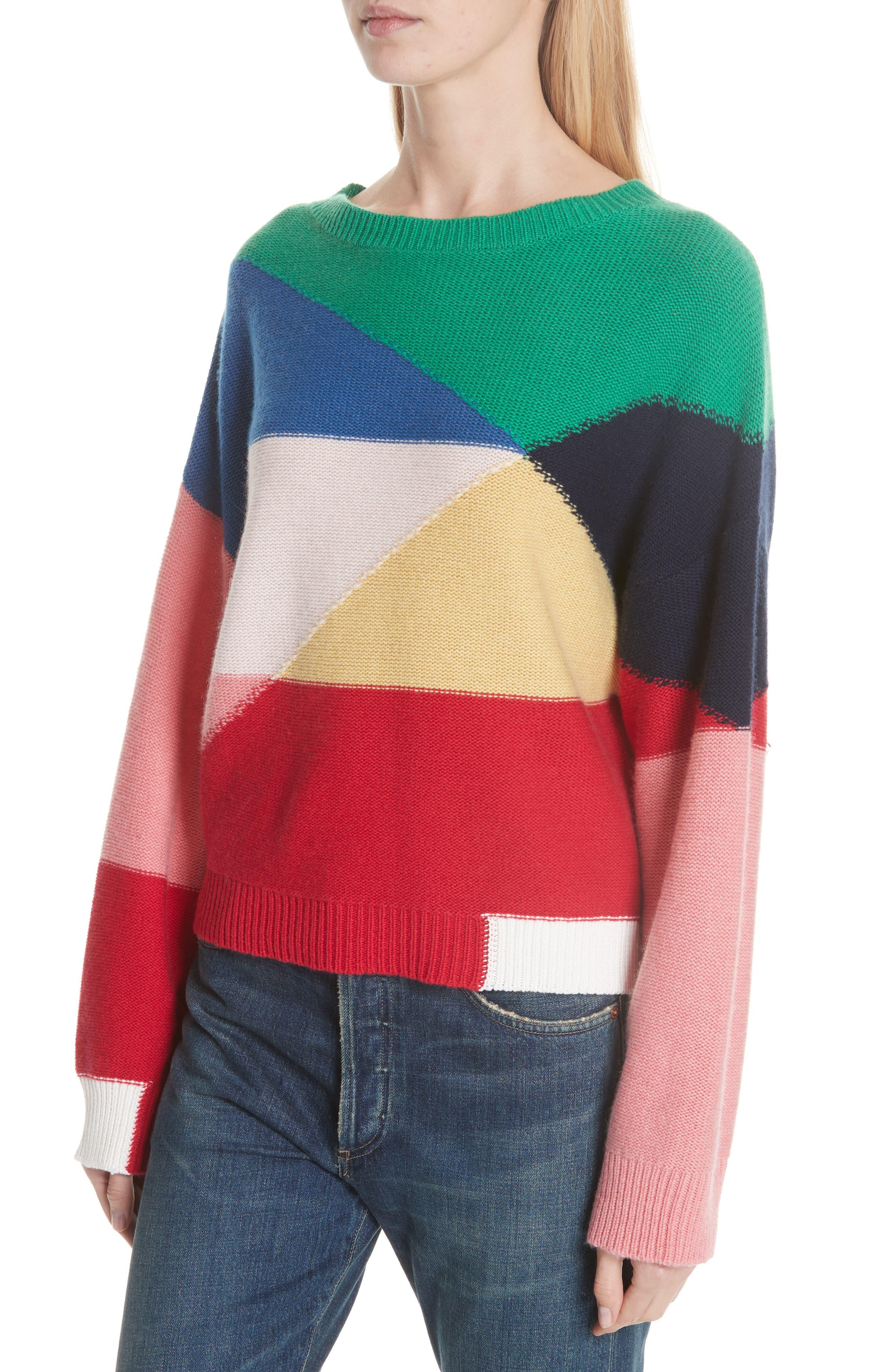 Megu Colorblock Wool & Cashmere Sweater,                             Alternate thumbnail 4, color,                             Multi