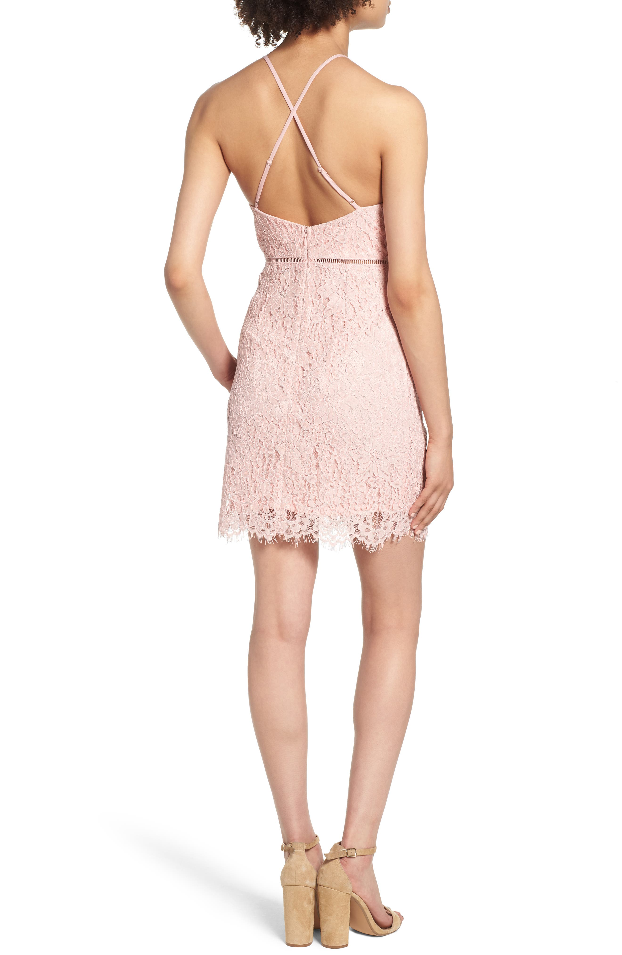 Lattice Lace Body-Con Dress,                             Alternate thumbnail 2, color,                             Pink Silver