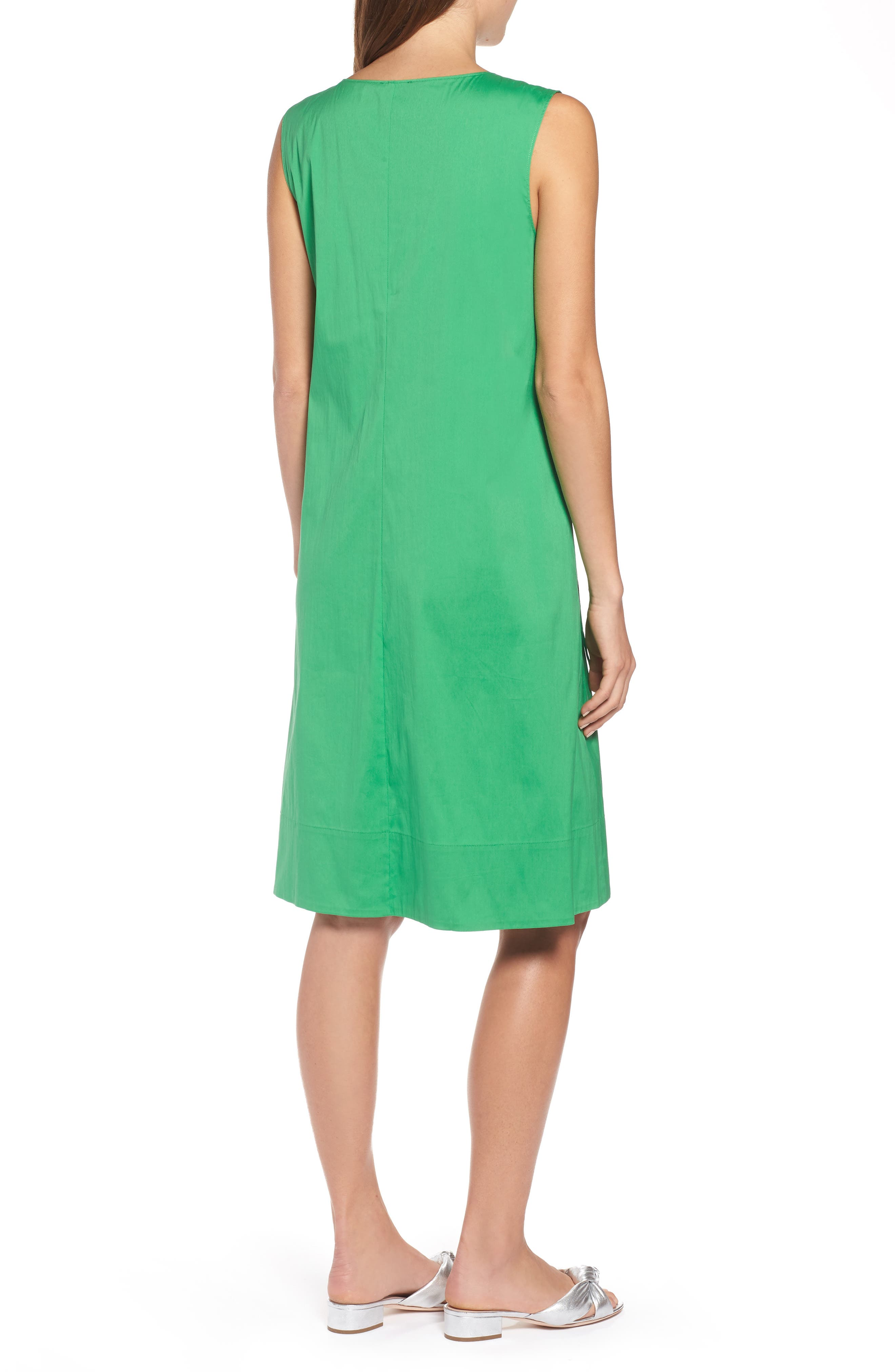 Drawcord Stretch Cotton Blend Dress,                             Alternate thumbnail 2, color,                             Green Kelly