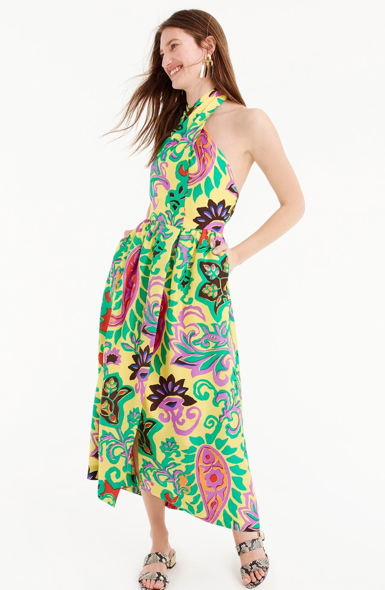 Paisley Silk Maxi Sarong Dress,                             Alternate thumbnail 2, color,                             Green Violet Multi