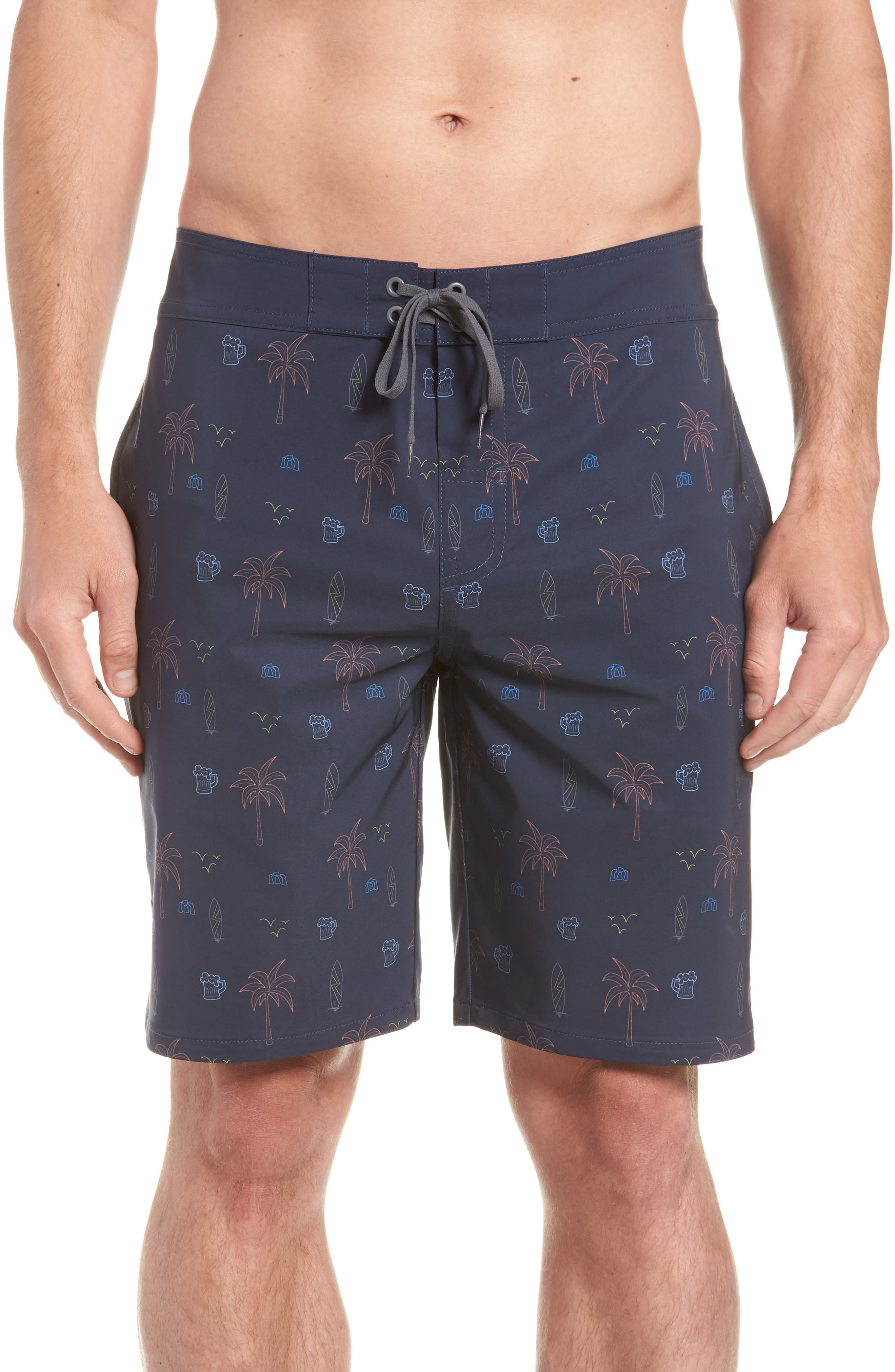 Safari Regular Fit Board Shorts,                         Main,                         color, Blue Nights