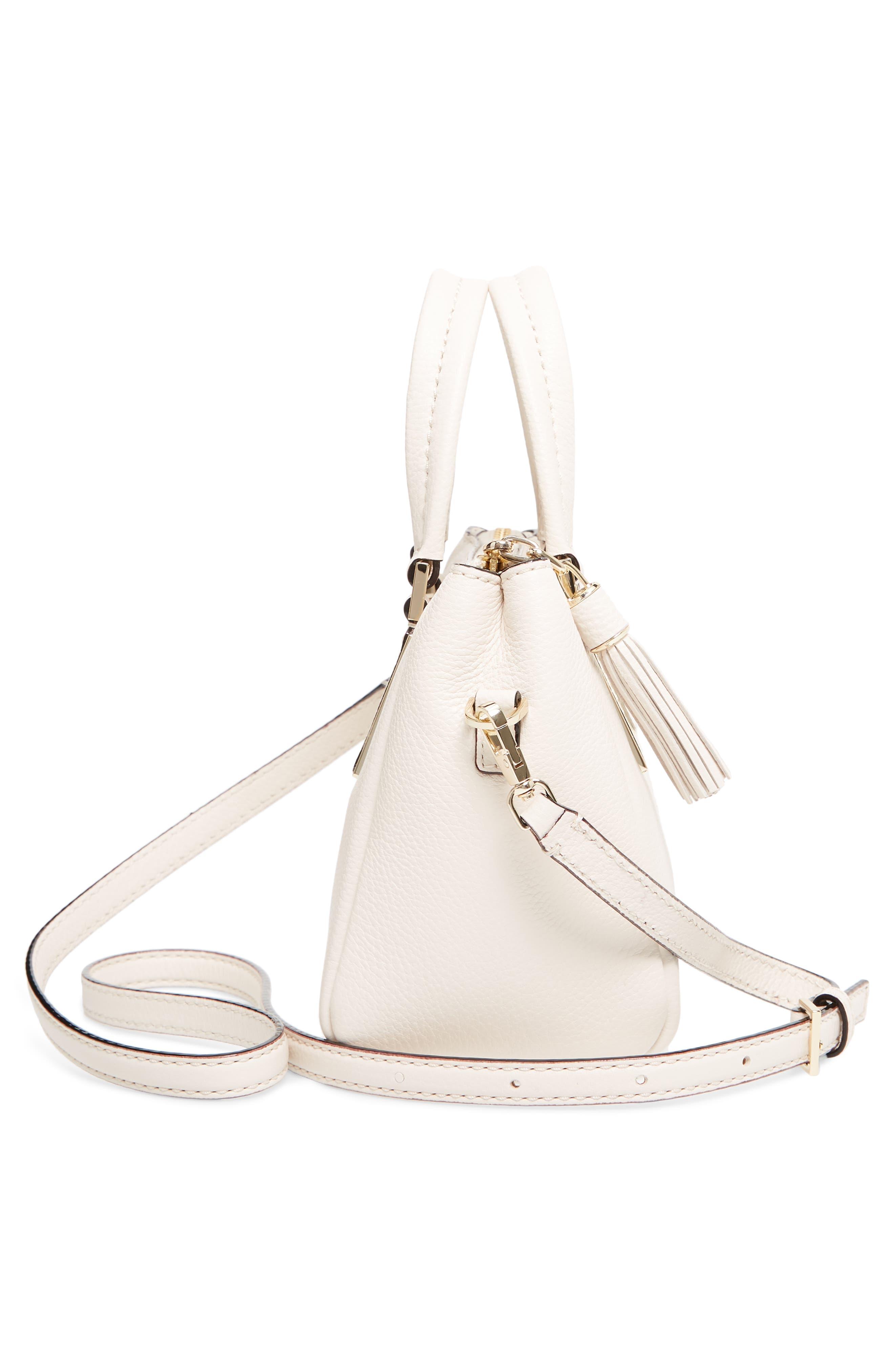 kingston drive - mini alena leather satchel,                             Alternate thumbnail 5, color,                             Bleach Bone