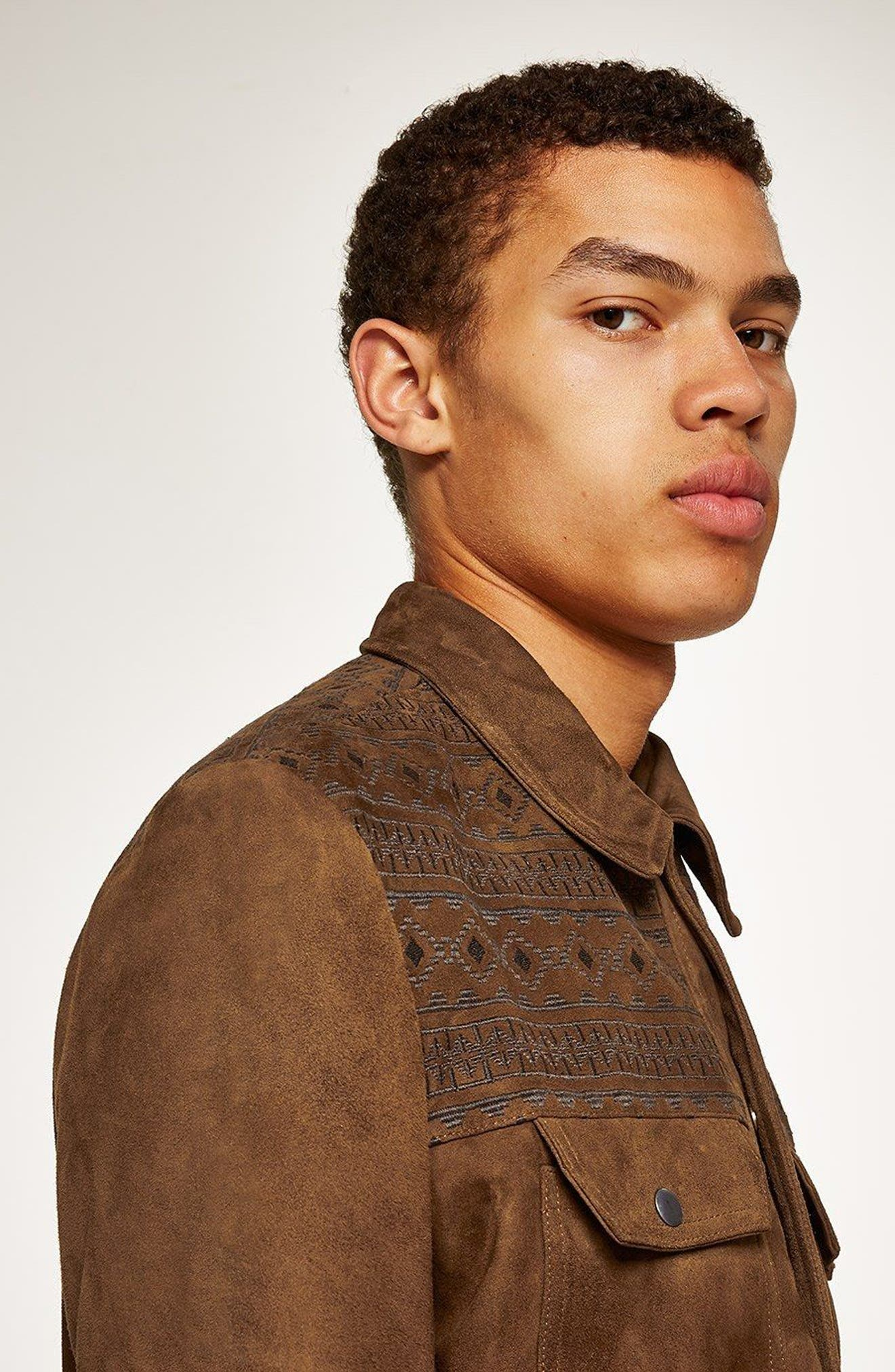 Embroidered Suede Jacket,                             Alternate thumbnail 3, color,                             Brown Multi
