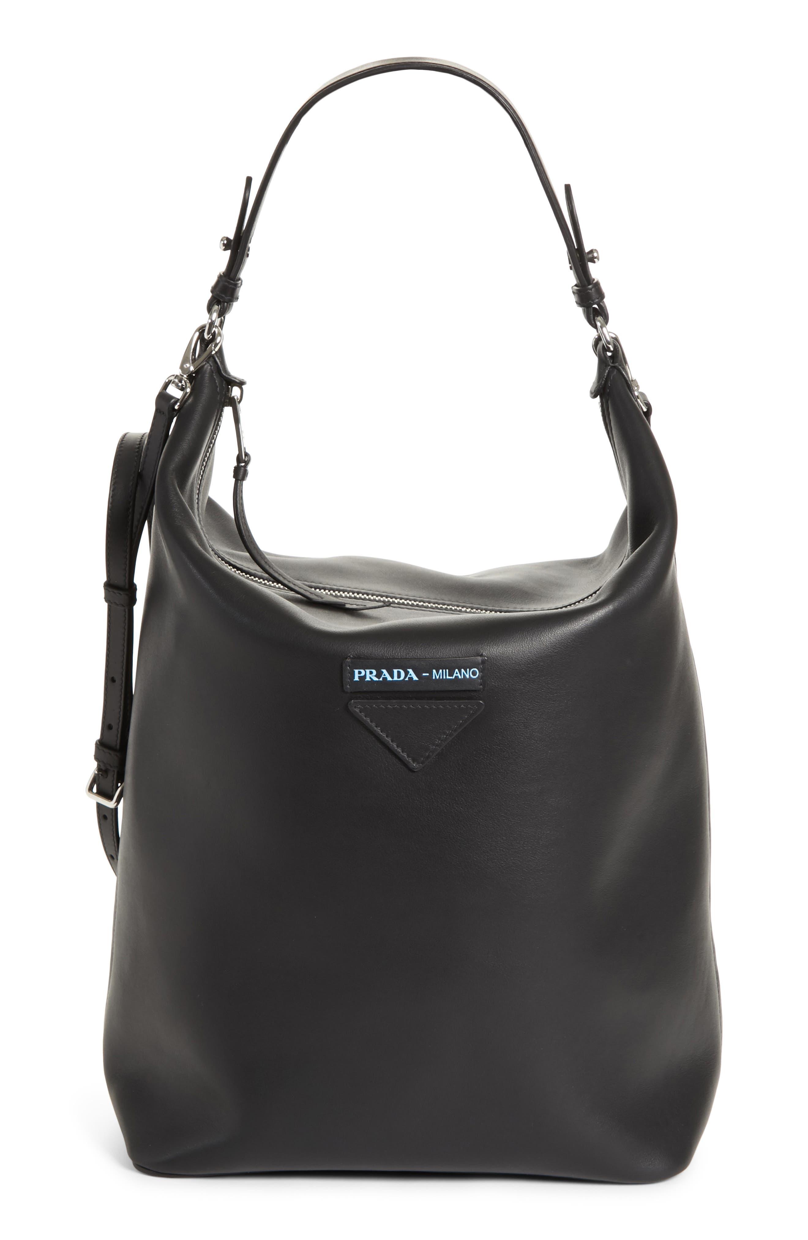 Concept Calfskin Leather Hobo,                         Main,                         color, Nero/ Astrale