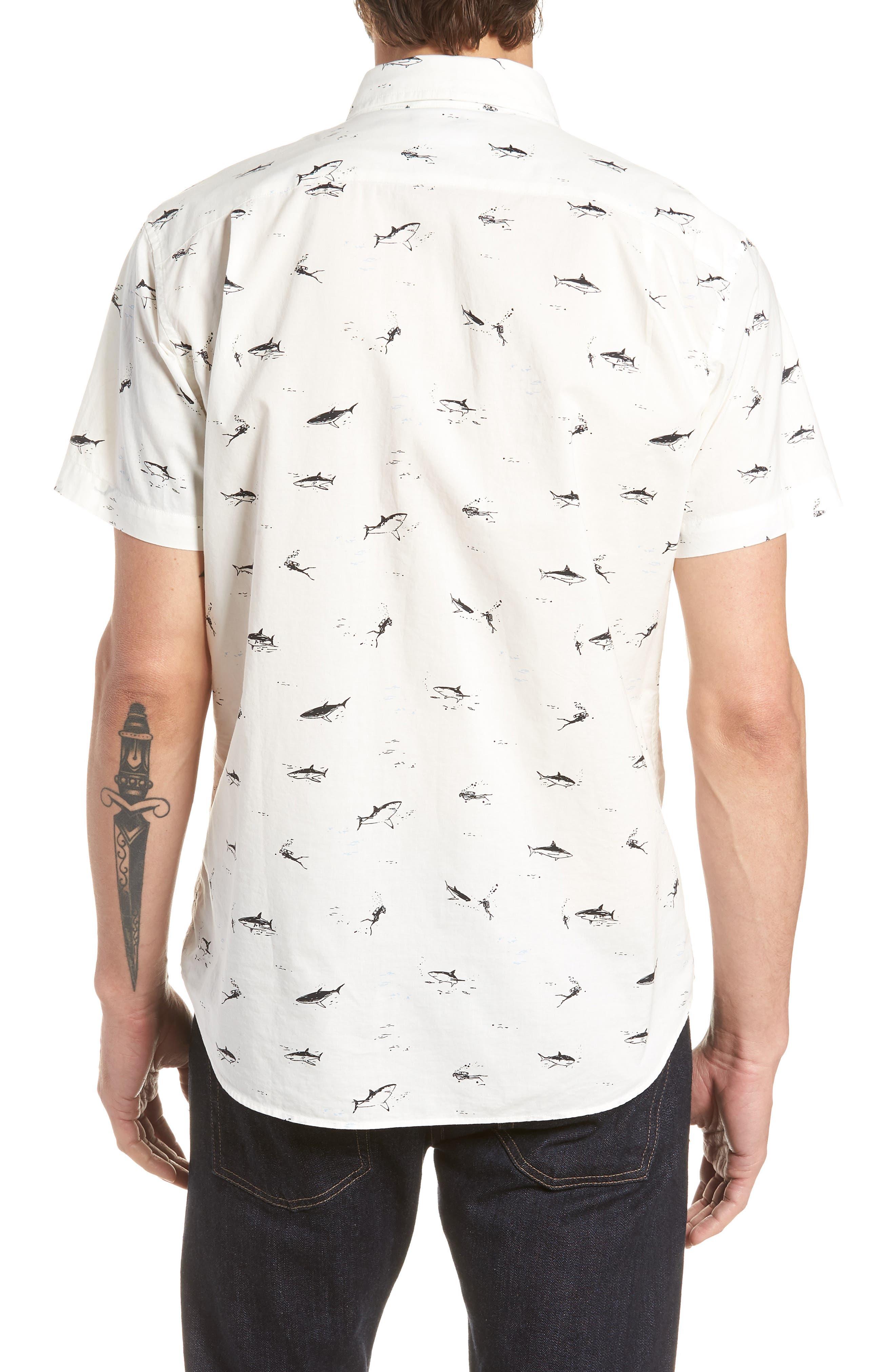 Riviera Slim Fit Shark Print Sport Shirt,                             Alternate thumbnail 3, color,                             Scuba Dive - Jet Black