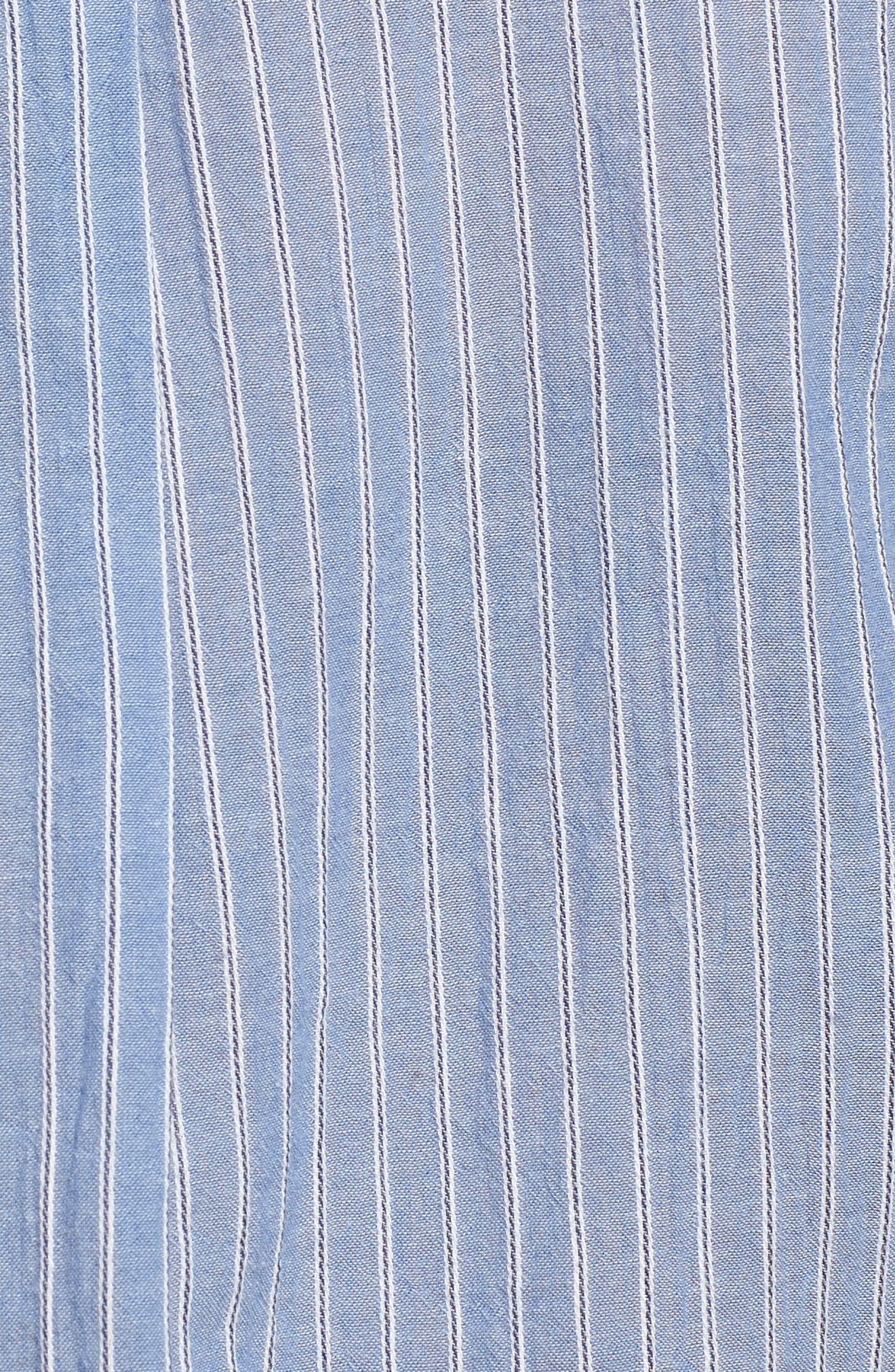 Stripe Button Front Shirt,                             Alternate thumbnail 5, color,                             Blue Airy Stripe