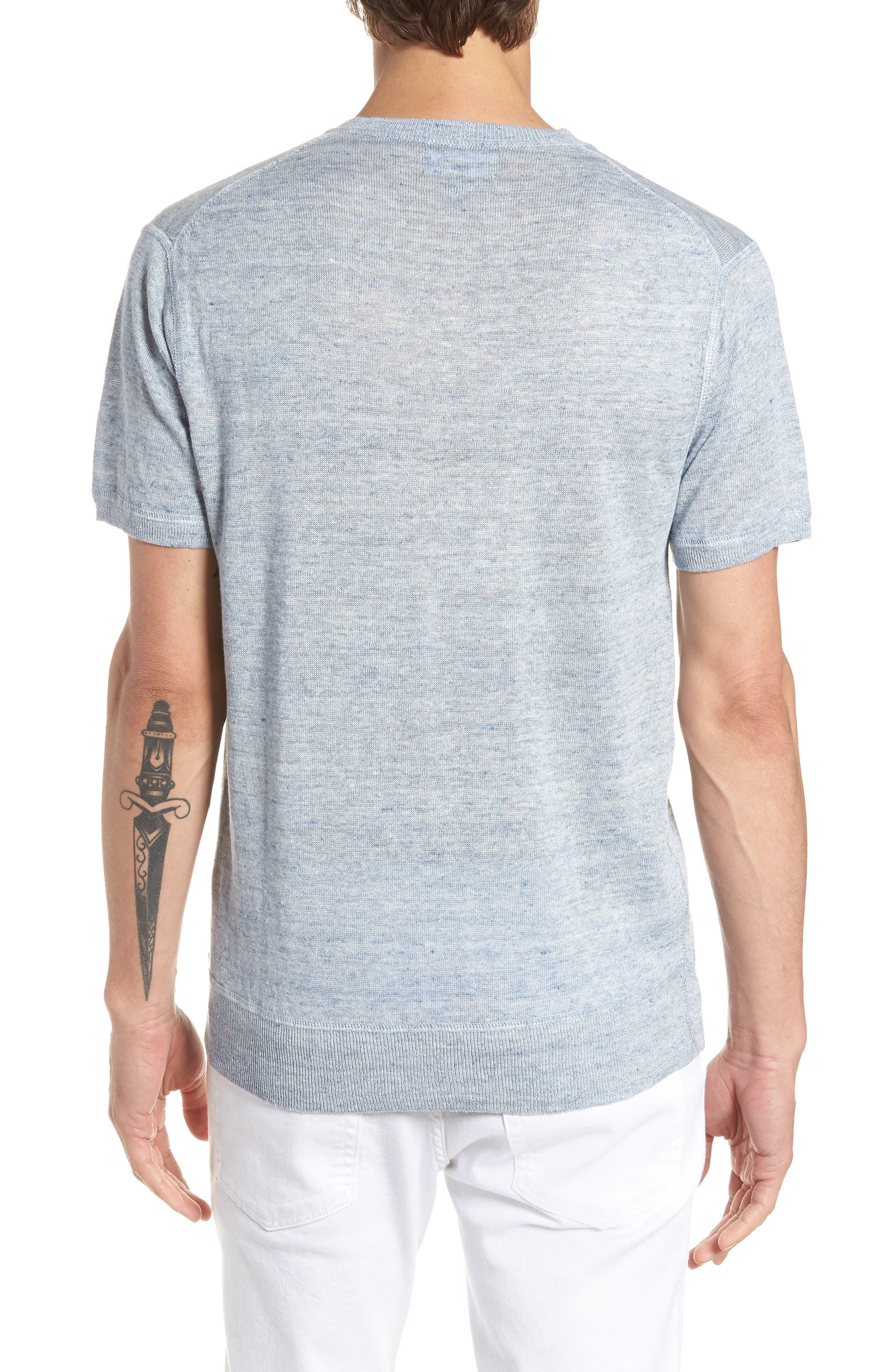Linen Henley T-Shirt,                             Alternate thumbnail 2, color,                             Cloud Blue