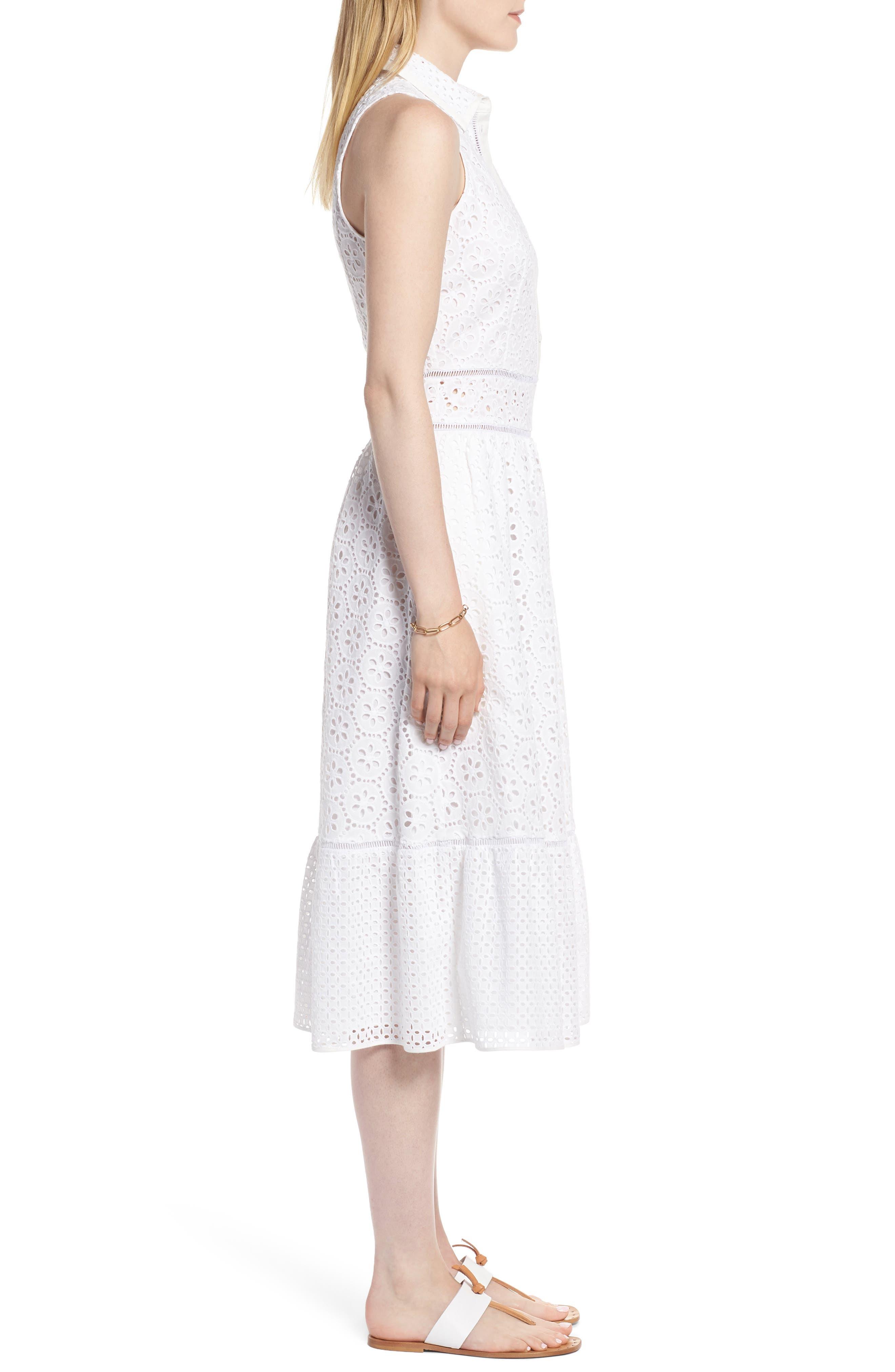 Cotton Eyelet Sleeveless Shirtdress,                             Alternate thumbnail 3, color,                             White