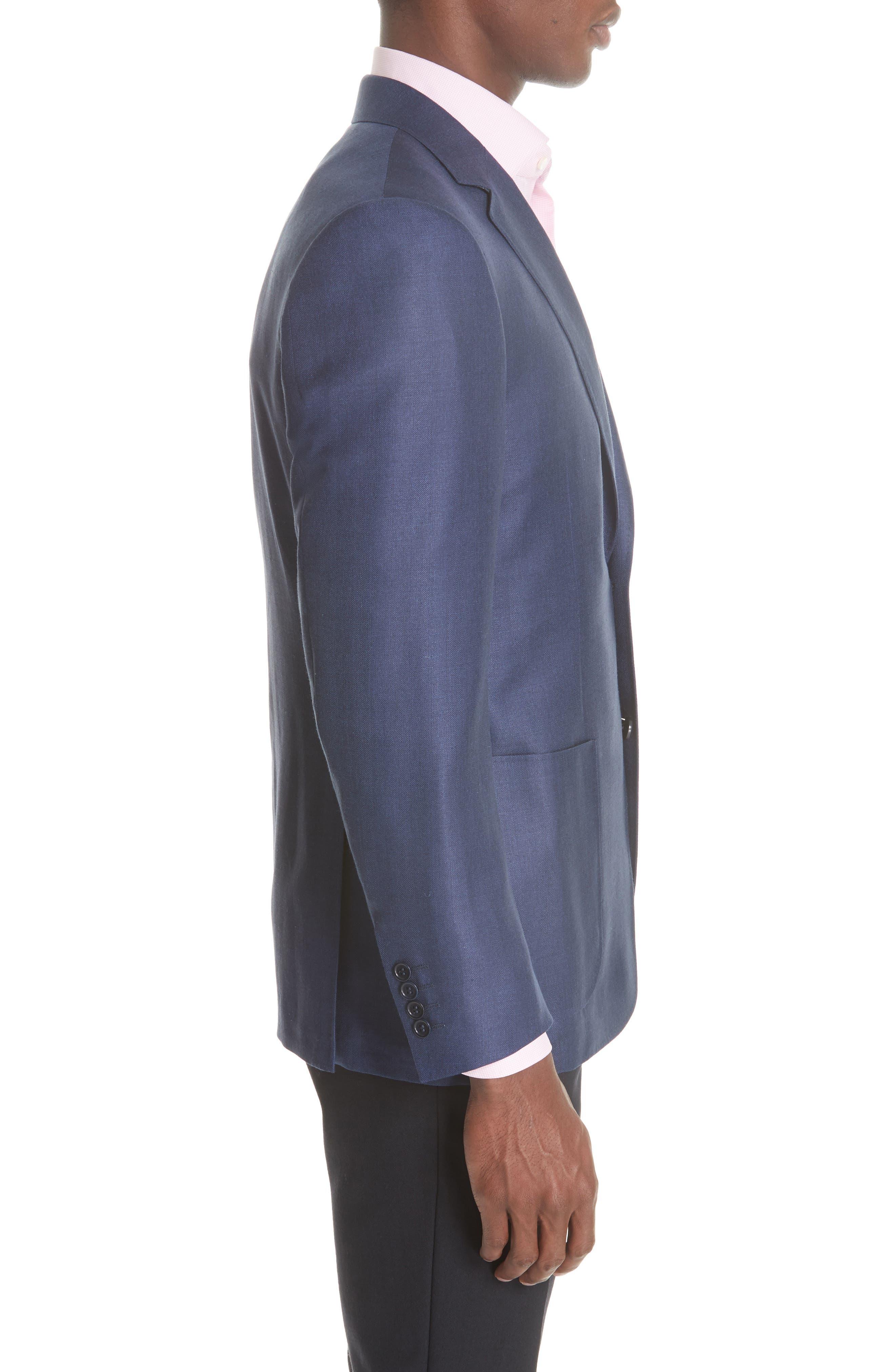 Venezia Classic Fit Herringbone Wool Blend Sport Coat,                             Alternate thumbnail 3, color,                             Blue