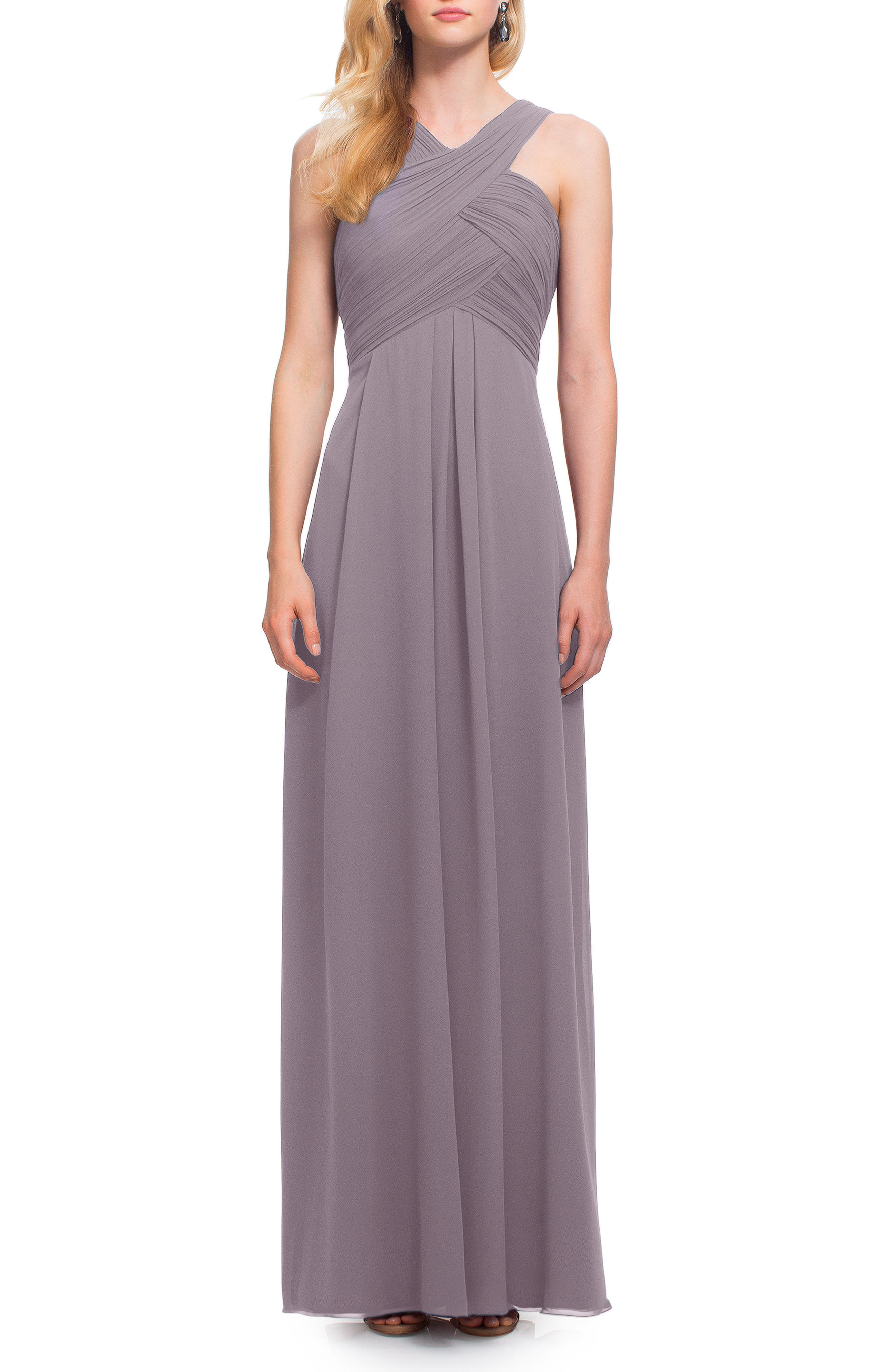 Crisscross Bodice Chiffon Gown,                             Main thumbnail 1, color,                             Heather