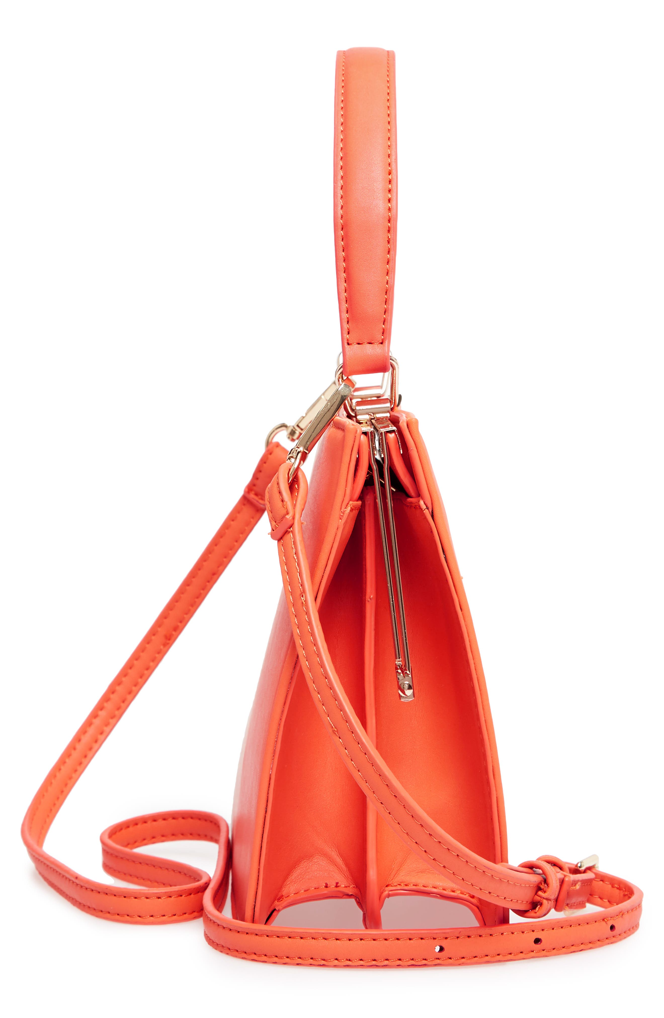 Faux Leather Frame Handbag,                             Alternate thumbnail 5, color,                             Red