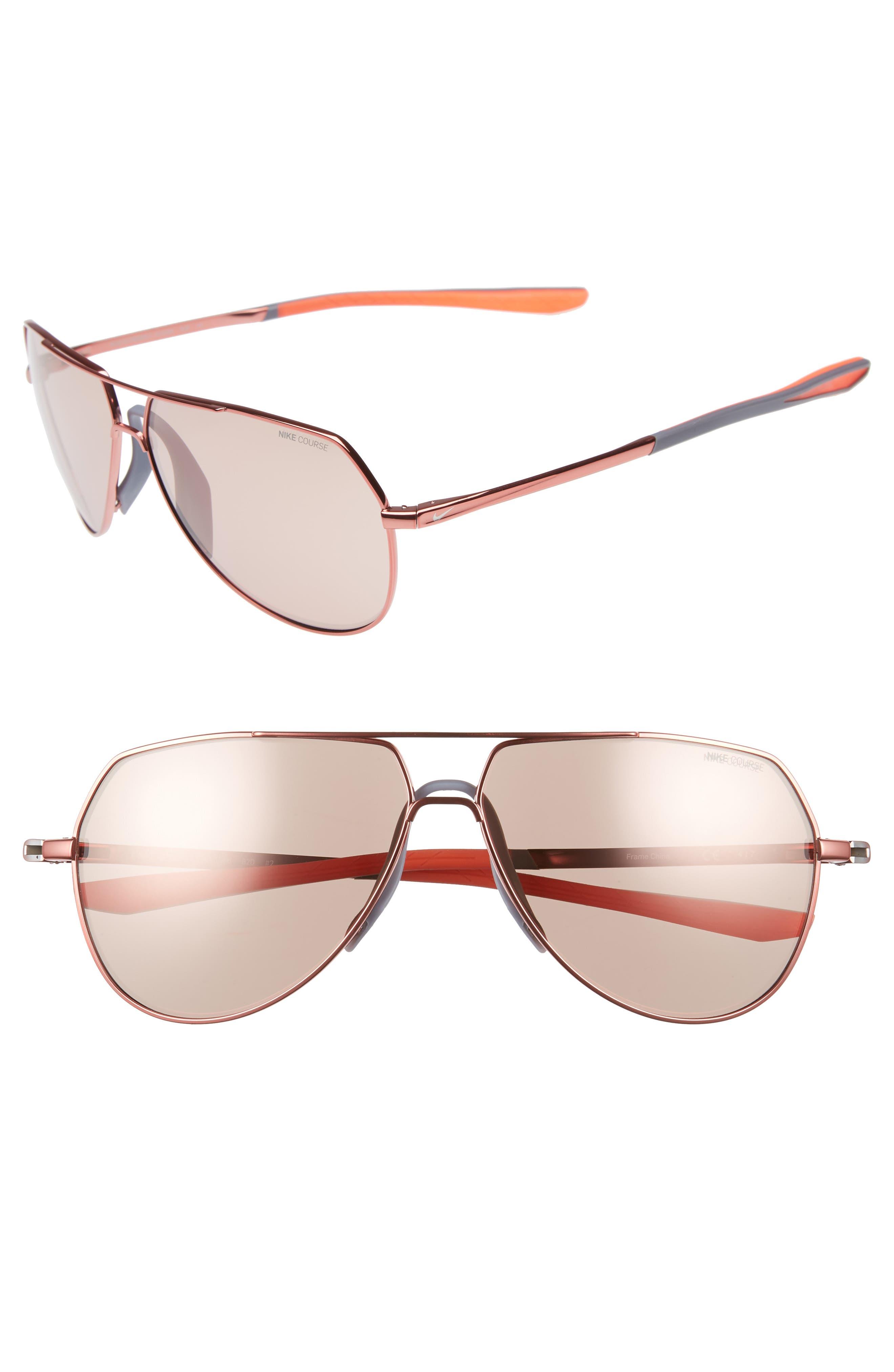 Outrider E 62mm Oversize Aviator Sunglasses,                         Main,                         color, Total Crimson/ Golf