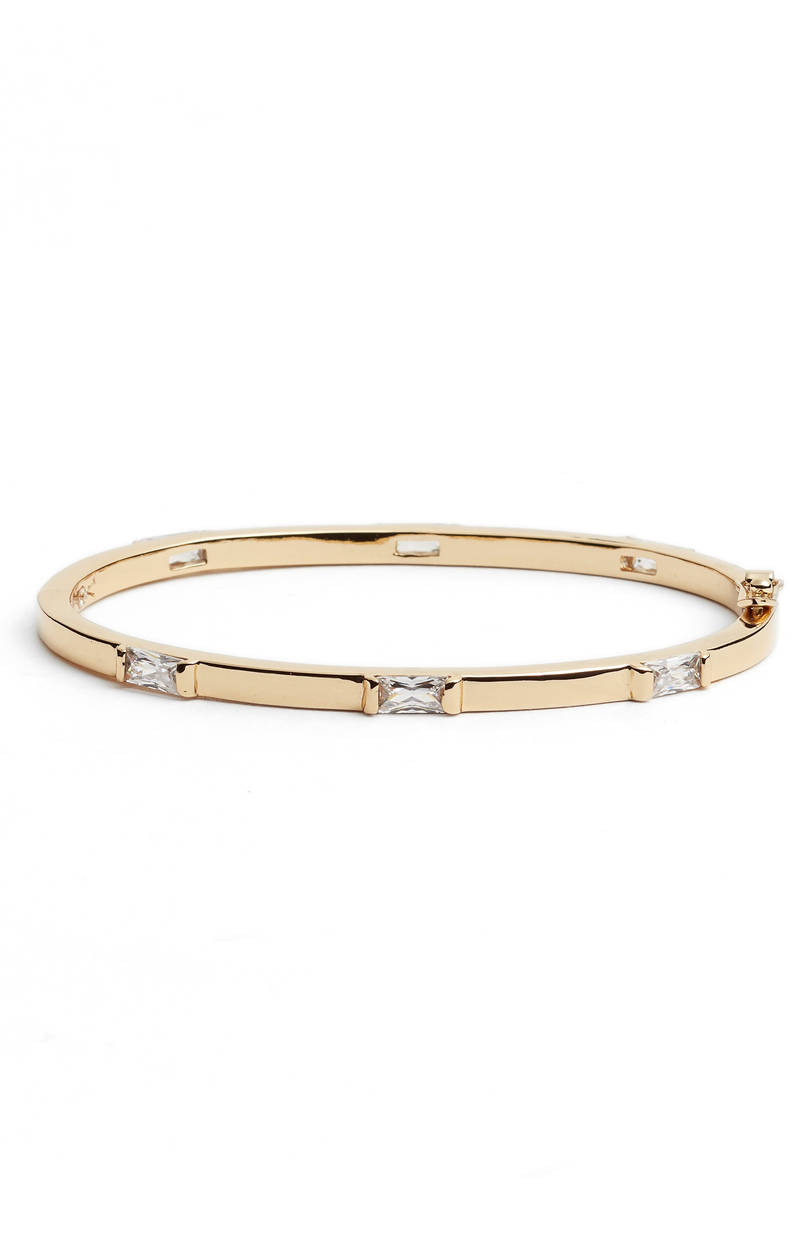 Step Cut Crystal Horizontal Station Bracelet,                         Main,                         color, Gold