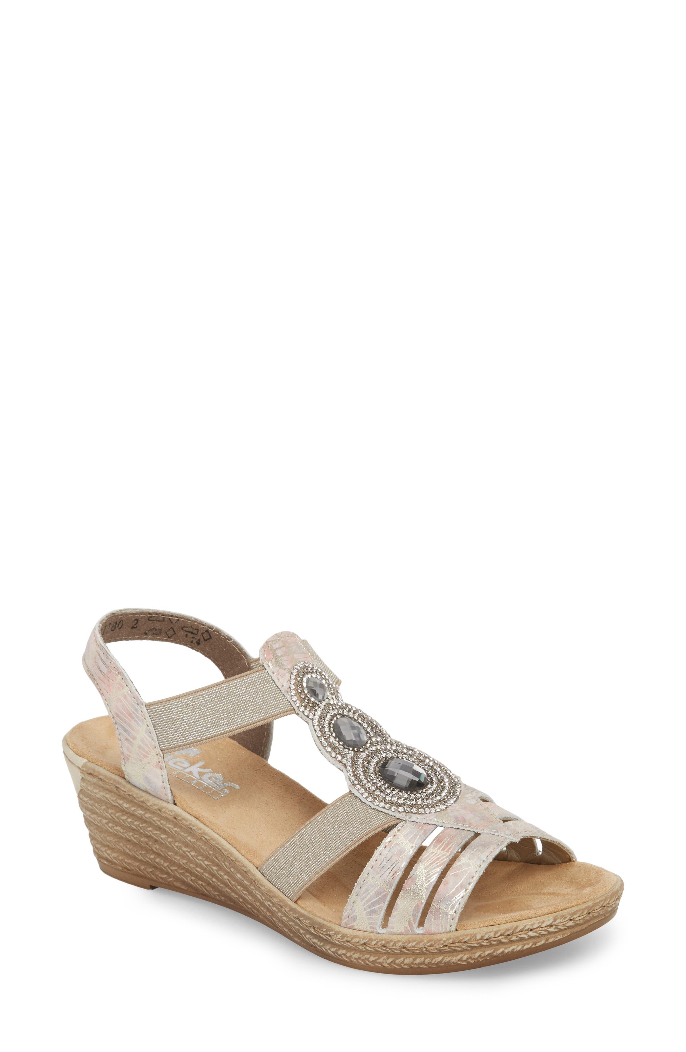 'Fanni' Wedge Sandal,                         Main,                         color, Multi Metal
