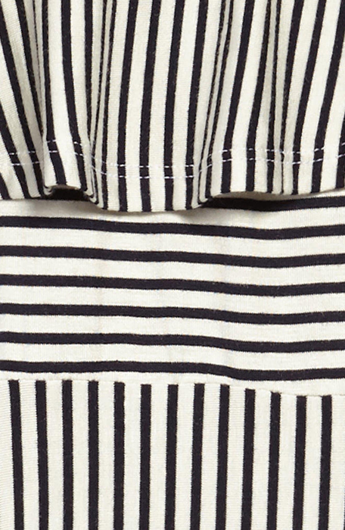 Stripe Cold Shoulder Dress,                             Alternate thumbnail 3, color,                             Black/ White