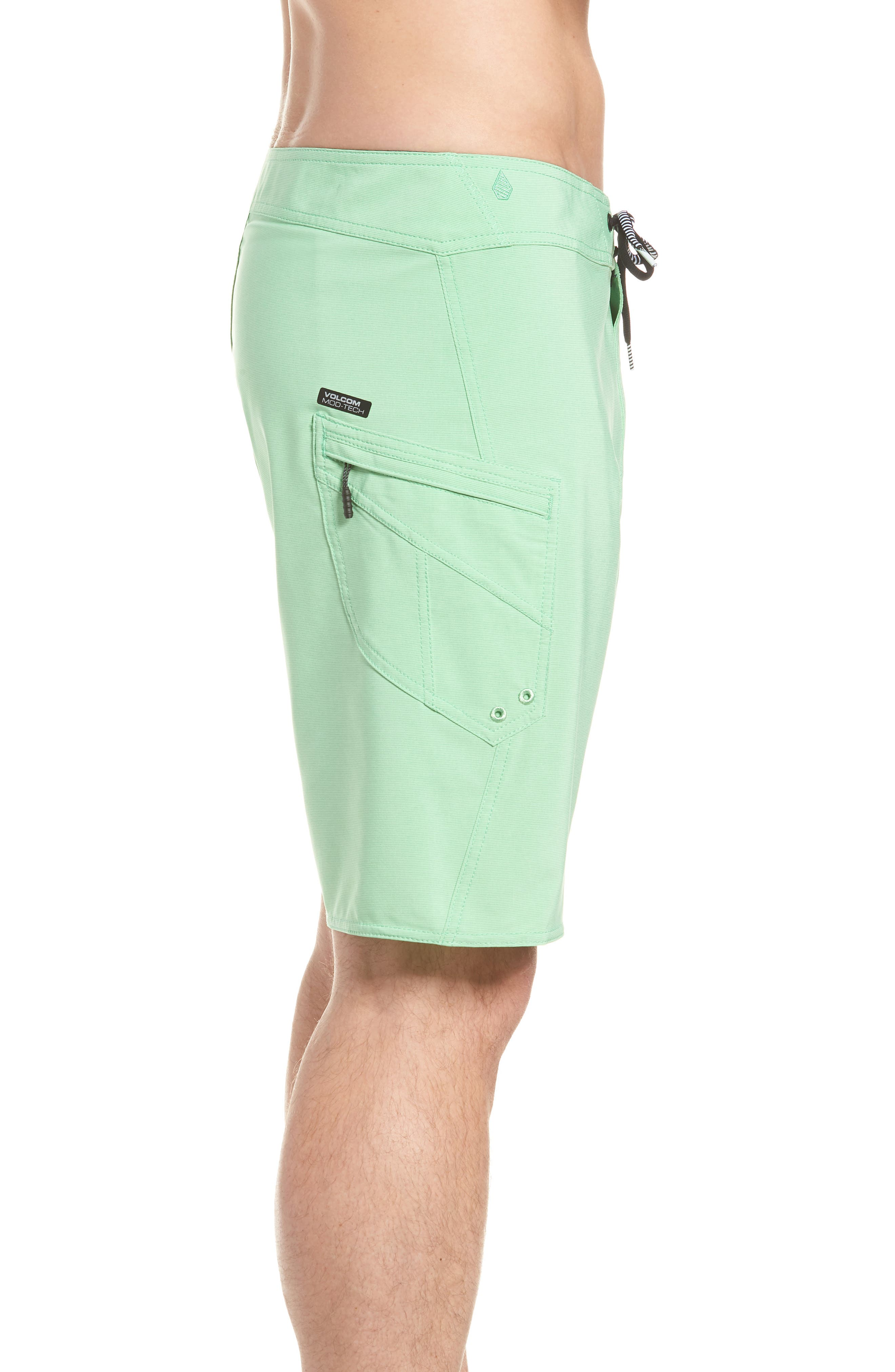 Lido Mod Board Shorts,                             Alternate thumbnail 3, color,                             Poison Green