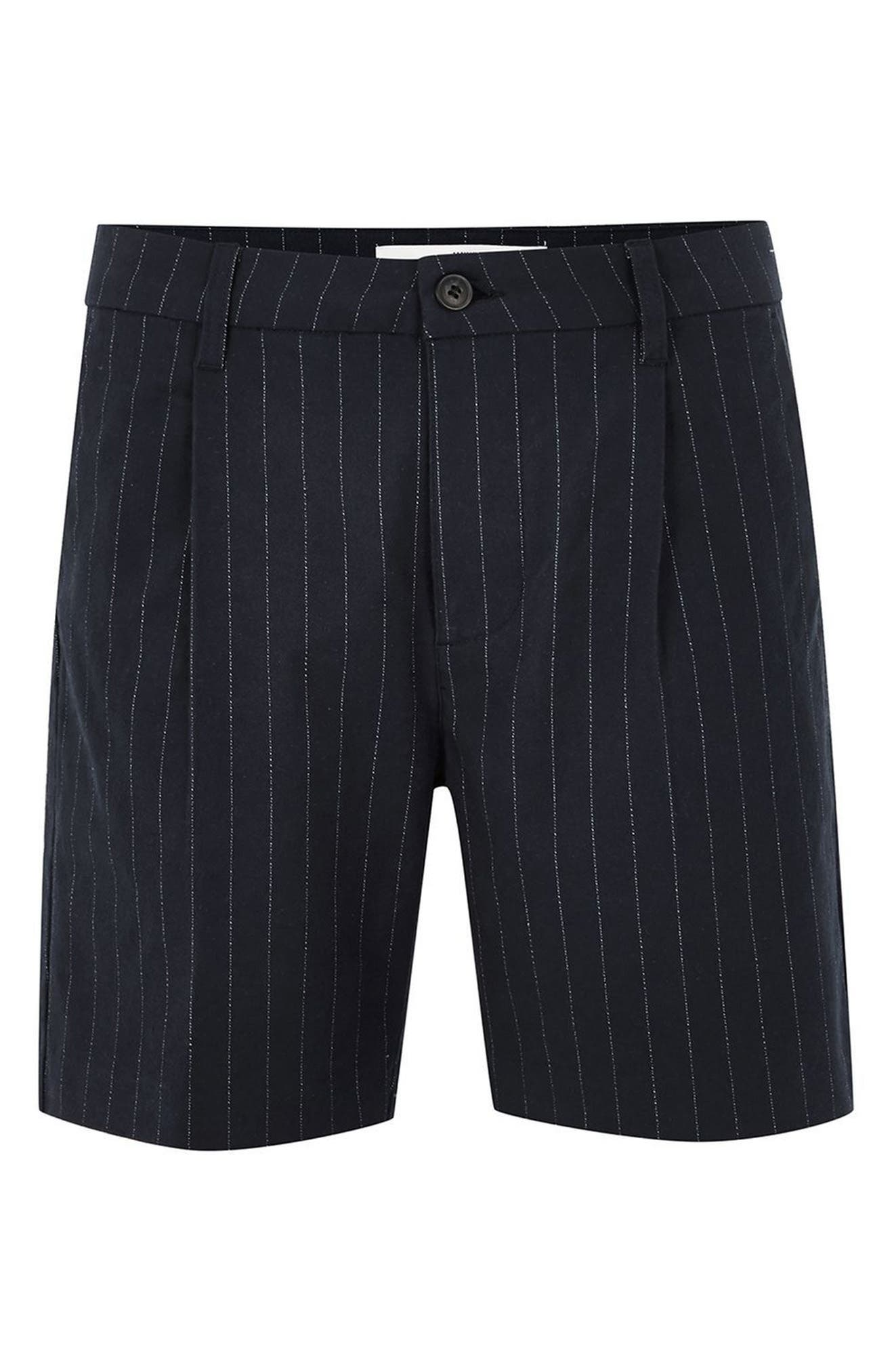 Pinstripe Shorts,                             Alternate thumbnail 3, color,                             Navy Blue