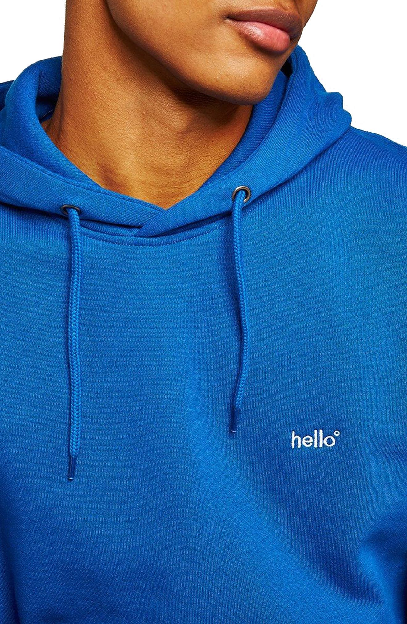 Classic Fit Tristan Hello Embroidered Hoodie,                             Alternate thumbnail 3, color,                             Blue Multi