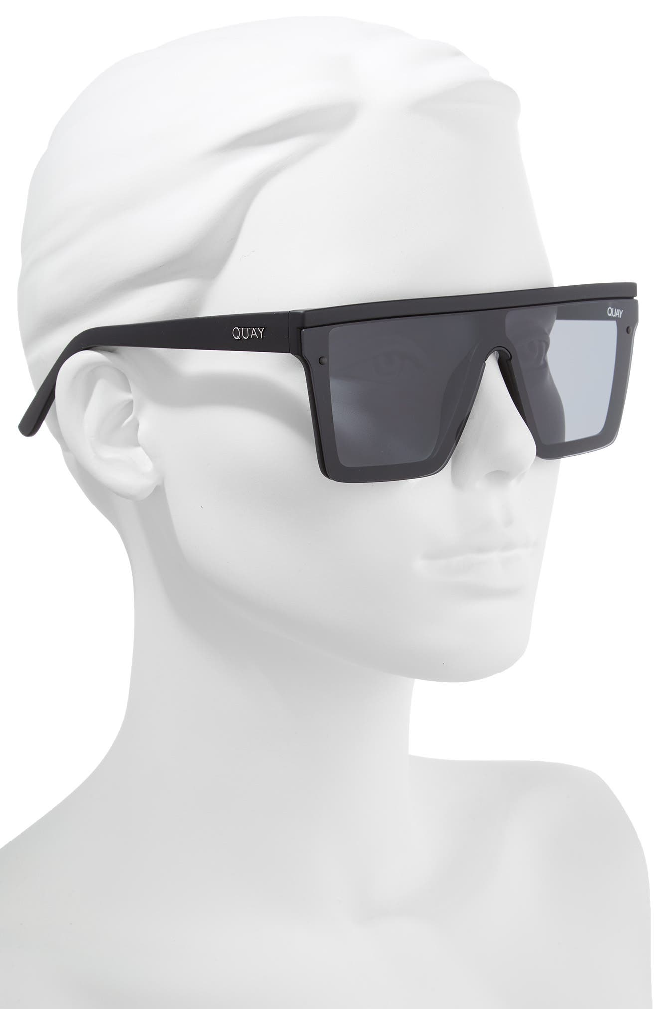 Hindsight 67mm Shield Sunglasses,                             Alternate thumbnail 3, color,                             Black/ Smoke